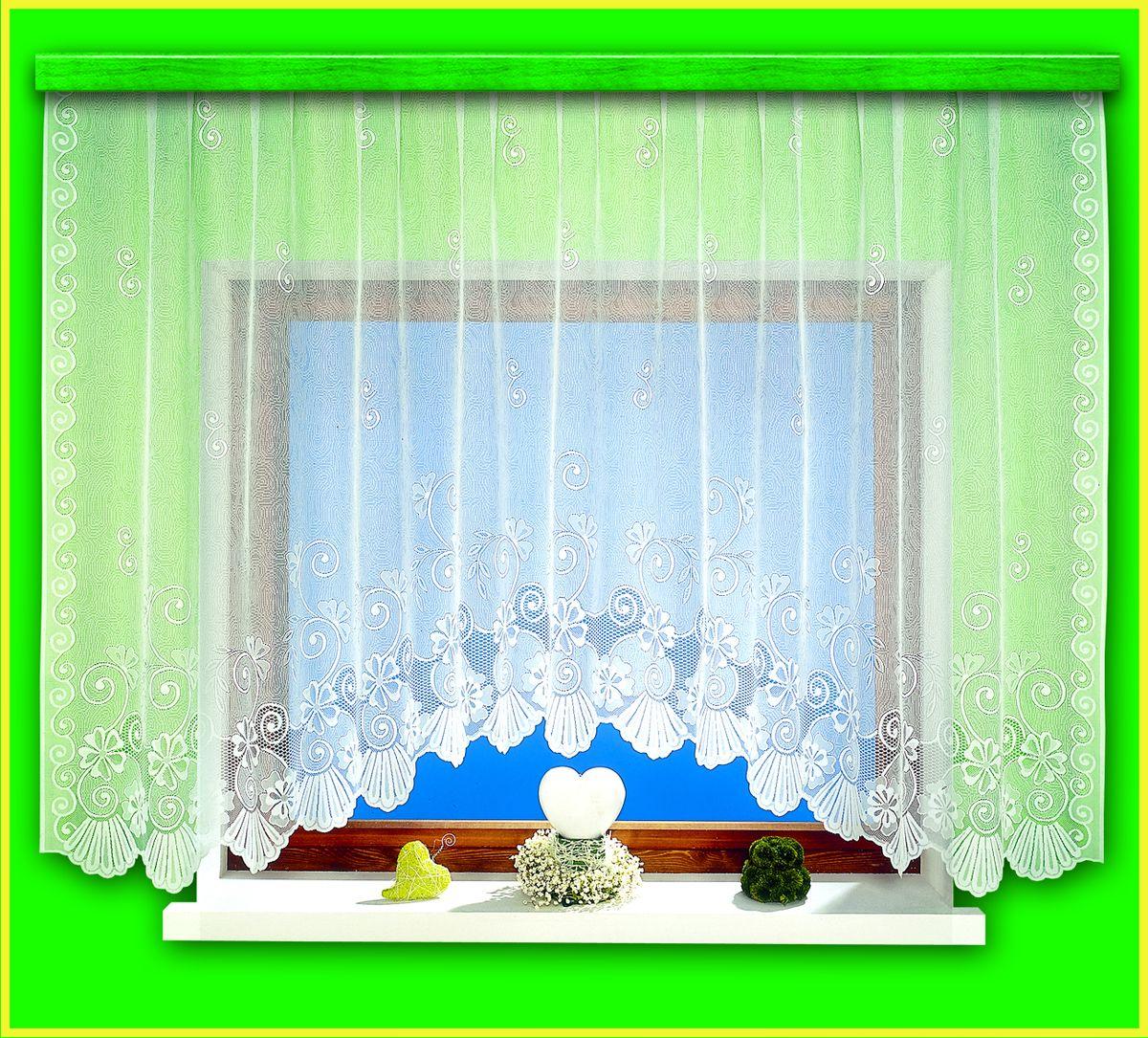 Гардина для кухни Haft Magia Wzorow, на ленте, цвет: белый, высота 160 см. 94090/160S03301004Воздушная гардина Haft Magia Wzorow, изготовленная из полиэстера белого цвета, станет великолепным украшением любого окна. Оригинальный цветочный орнамент, украшающий нижний край гардины, и нежная ажурная фактура материала привлекут к себе внимание и органично впишутся в интерьер комнаты. В гардину вшита шторная лента.Размер гардины: 160 см х 300 см.Главный ассортимент компании Haft - это тюль и занавески. Haft предлагает готовые решения для ваших окон, выпуская готовые наборы штор, которые остается только распаковать и повесить. Модельный ряд отличает оригинальный дизайн, высокое качество. Занавески, шторы, гардины Haft долговечны, прочны, практически не сминаемы, они не притягивают пыль и за ними легко ухаживать. Вся продукция бренда Haft выполнена на современном оборудовании из лучших материалов.