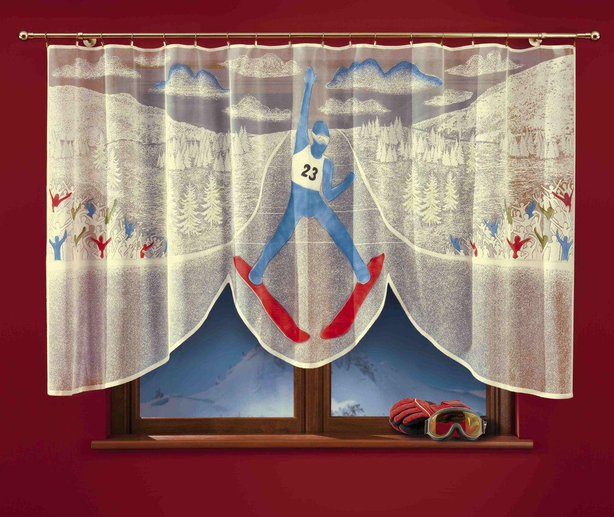 Гардина Wisan Skoczek, цвет: молочный, высота 150 см723АГардина Wisan Skoczek изготовлена из полиэстера, легкой, тонкой ткани. Изделие украшено ручной раскраской в виде лыжника на соревнованиях. Тонкое плетение, оригинальный дизайн и приятная цветовая гамма привлекут к себе внимание и органично впишутся в интерьер кухни. Оригинальное оформление гардины внесет разнообразие и подарит заряд положительного настроения. Гардина не оснащена креплениями.