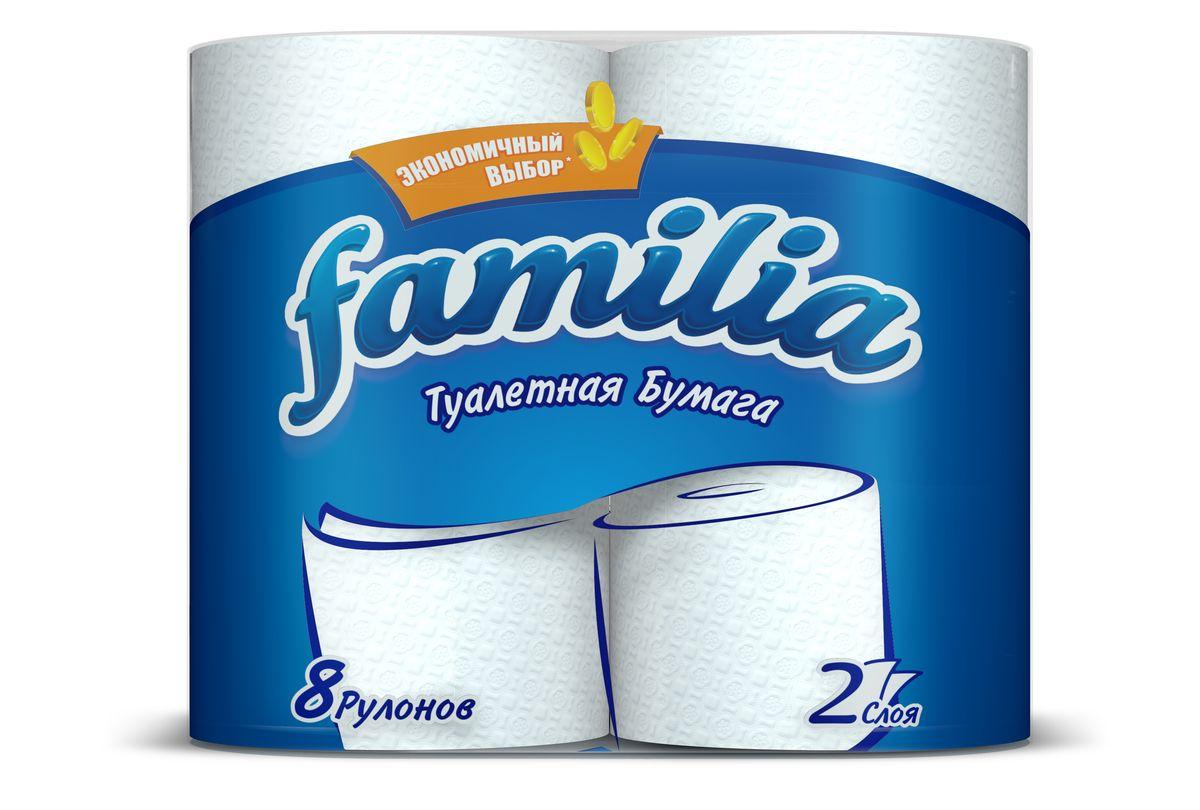 Туалетная бумага Familia, двухслойная, цвет: белый, 8 рулонов15297Двухслойная туалетная бумага Familia изготовлена из целлюлозы высшего качества. Листы оформлены тисненым рисунком в виде цветов. Мягкая, нежная, но в тоже время прочная, бумага не расслаивается и отрывается строго по линии перфорации. Бумага не ароматизированная. Туалетная бумага Familia предназначена для тех, кто хочет, чтобы ванная была самая уютная на свете. Товар сертифицирован. Материал: 100% целлюлоза. Количество листов (в одном рулоне): 150 шт. Количество слоев: 2. Размер листа: 9,5 см х 12 см. Длина рулона: 18 м.