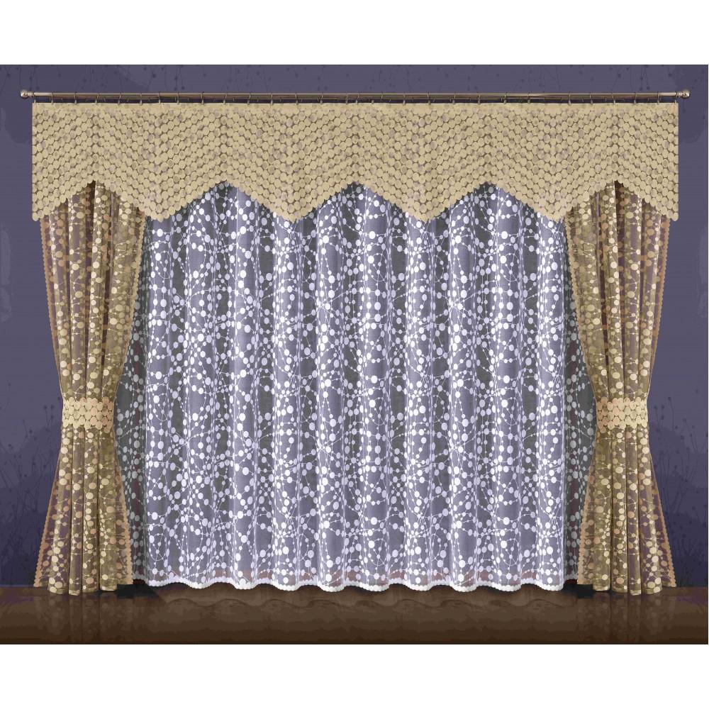 Комплект штор Wisan Jowita, на ленте, цвет: бежевый, белый, высота 250 см086WКомплект штор Wisan Jowita выполненный из полиэстера, великолепно украсит любое окно. Комплект состоит из 2 штор, тюля, ламбрекена и 2 подхватов. Кружевной узор придает комплекту особый стиль и шарм. Тонкое жаккардовое плетение, нежная цветовая гамма и роскошное исполнение - все это делает шторы Wisan Jowita замечательным дополнением интерьера помещения. Все предметы комплекта оснащены шторной лентой для красивой драпировки. В комплект входит: Штора - 2 шт. Размер (ШхВ): 145 см х 250 см. Тюль - 1 шт. Размер (ШхВ): 400 см х 250 см. Ламбрекен - 1 шт. Размер (ШхВ): 320 см х 60 см. Подхват - 2 шт. Фирма Wisan на польском рынке существует уже более пятидесяти лет и является одной из лучших польских фабрик по производству штор и тканей. Ассортимент фирмы представлен готовыми комплектами штор для гостиной, детской, кухни, а также текстилем для кухни (скатерти, салфетки, дорожки, кухонные занавески). Модельный ряд отличает...