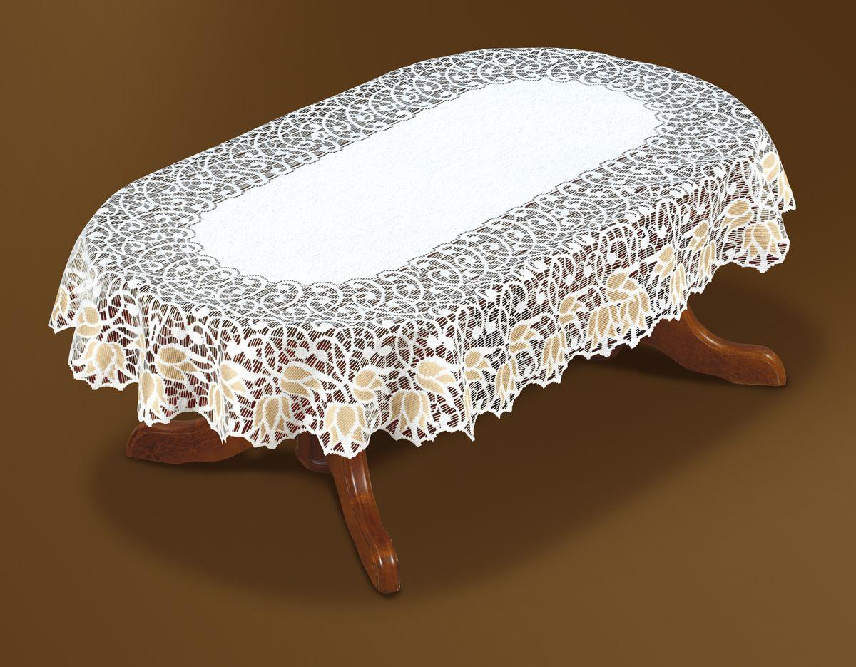 Скатерть Haft Gold Line, овальная, цвет: белый, золотистый, 250 x 150 см. 221071/150221071/150Великолепная овальная скатерть Haft Gold Line, выполненная из полиэстера, органично впишется в интерьер любого помещения, а оригинальный дизайн удовлетворит даже самый изысканный вкус. Скатерть изготовлена из сетчатого материала с ажурным цветочным рисунком по краям. Края скатерти ажурные. Скатерть Haft Gold Line создаст праздничное настроение и станет прекрасным дополнением интерьера гостиной, кухни или столовой.