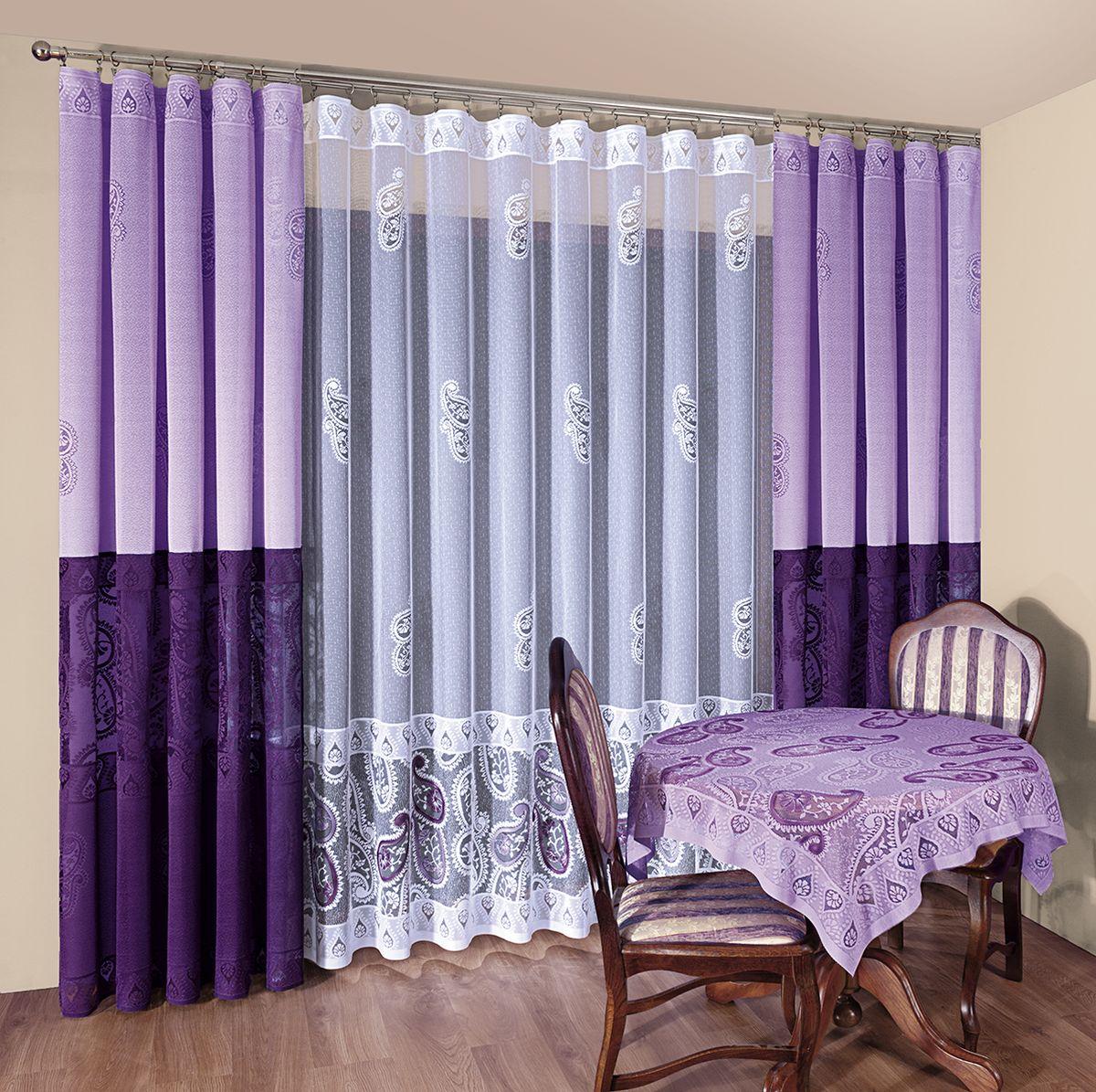 Комплект штор Wisan Fiona, на ленте, цвет: фиолетовый, белый, высота 250 см047WКомплект штор Wisan Fiona выполненный из полиэстера, великолепно украсит любое окно. Тонкое плетение, оригинальный дизайн привлекут к себе внимание и органично впишутся в интерьер. В комплект входят 2 шторы и тюль. Кружевной узор придает комплекту особый стиль и шарм. Тонкое жаккардовое плетение, нежная цветовая гамма и роскошное исполнение - все это делает шторы Wisan Fiona замечательным дополнением интерьера помещения. Комплект оснащен шторной лентой для красивой сборки. В комплект входит: Штора - 2 шт. Размер (ШхВ): 150 см х 250 см. Тюль - 1 шт. Размер (ШхВ): 500 см х 250 см. Фирма Wisan на польском рынке существует уже более пятидесяти лет и является одной из лучших польских фабрик по производству штор и тканей. Ассортимент фирмы представлен готовыми комплектами штор для гостиной, детской, кухни, а также текстилем для кухни (скатерти, салфетки, дорожки, кухонные занавески). Модельный ряд отличает оригинальный дизайн, высокое...