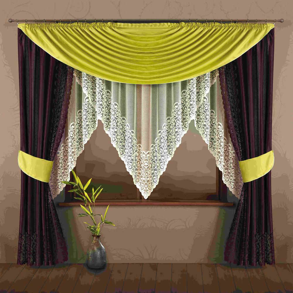 Комплект штор для кухни Wisan Nastia, на ленте, цвет: коричневый, зеленый, высота 245 см175WКомплект штор Wisan Nastia выполненный из полиэстера, великолепно украсит кухонное окно. Тонкое плетение, оригинальный дизайн привлекут к себе внимание и органично впишутся в интерьер. В комплект входят 2 шторы, тюль, ламбрекен и 2 подхвата. Кружевной узор придает комплекту особый стиль и шарм. Тонкое плетение, нежная цветовая гамма и роскошное исполнение - все это делает шторы Wisan Nastia замечательным дополнением интерьера помещения. Комплект оснащен шторной лентой для красивой сборки. В комплект входит: Штора - 2 шт. Размер (ШхВ): 145 см х 245 см. Тюль - 1 шт. Размер (ШхВ): 350 см х 180 см. Ламбрекен - 1 шт. Размер (ШхВ): 310 см х 160 см. Подхват - 2 шт. Фирма Wisan на польском рынке существует уже более пятидесяти лет и является одной из лучших польских фабрик по производству штор и тканей. Ассортимент фирмы представлен готовыми комплектами штор для гостиной, детской, кухни, а также текстилем для кухни (скатерти,...