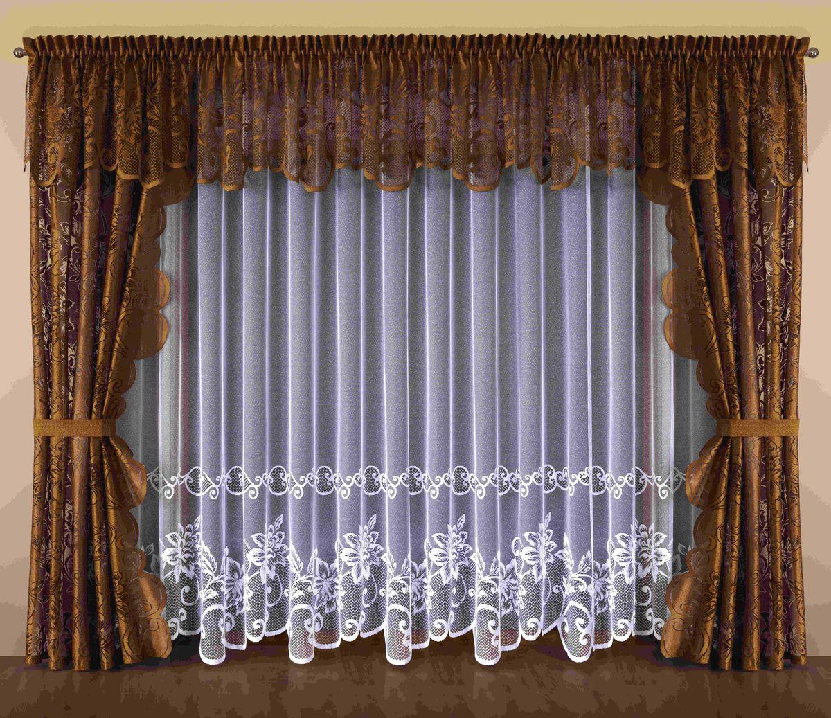 Комплект штор Wisan Kalista, на ленте, цвет: белый, коричневый, высота 250 см193WКомплект штор Wisan Kalista выполненный из полиэстера, великолепно украсит любое окно. В комплект входят 2 шторы, тюль, ламбрекен и 2 подхвата. Интересный крой и цветочный узор придают комплекту особый стиль и шарм. Тонкое плетение, нежная цветовая гамма и роскошное исполнение - все это делает шторы Wisan Kalista замечательным дополнением интерьера помещения. Комплект оснащен шторной лентой для красивой сборки. В комплект входит: Штора - 2 шт. Размер (ШхВ): 145 см х 250 см. Тюль - 1 шт. Размер (ШхВ): 500 см х 250 см. Ламбрекен - 1 шт. Размер (ШхВ): 500 см х 70 см. Подхват - 2 шт. Фирма Wisan на польском рынке существует уже более пятидесяти лет и является одной из лучших польских фабрик по производству штор и тканей. Ассортимент фирмы представлен готовыми комплектами штор для гостиной, детской, кухни, а также текстилем для кухни (скатерти, салфетки, дорожки, кухонные занавески). Модельный ряд отличает оригинальный...