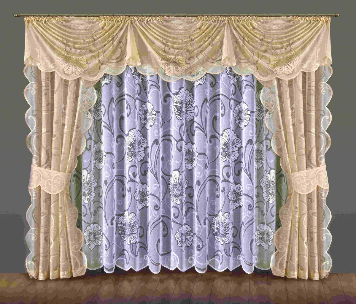 Комплект штор Wisan Bonita, на ленте, цвет: белый, бежевый, высота 250 смS03301004Комплект штор Wisan Bonita выполненный из полиэстера, великолепно украсит любое окно. В комплект входят 2 шторы, тюль, ламбрекен и 2 подхвата. Цветочный орнамент придает комплекту особый стиль и шарм. Тонкое плетение, нежная цветовая гамма и роскошное исполнение - все это делает шторы Wisan Bonita замечательным дополнением интерьера помещения.Комплект оснащен шторной лентой для красивой сборки. В комплект входит: Штора - 2 шт. Размер (ШхВ): 145 см х 250 см.Тюль - 1 шт. Размер (ШхВ): 400 см х 250 см. Ламбрекен - 1 шт. Размер (ШхВ): 360 см х 60 см. Подхват - 2 шт.Фирма Wisan на польском рынке существует уже более пятидесяти лет и является одной из лучших польских фабрик по производству штор и тканей. Ассортимент фирмы представлен готовыми комплектами штор для гостиной, детской, кухни, а также текстилем для кухни (скатерти, салфетки, дорожки, кухонные занавески). Модельный ряд отличает оригинальный дизайн, высокое качество. Ассортимент продукции постоянно пополняется.