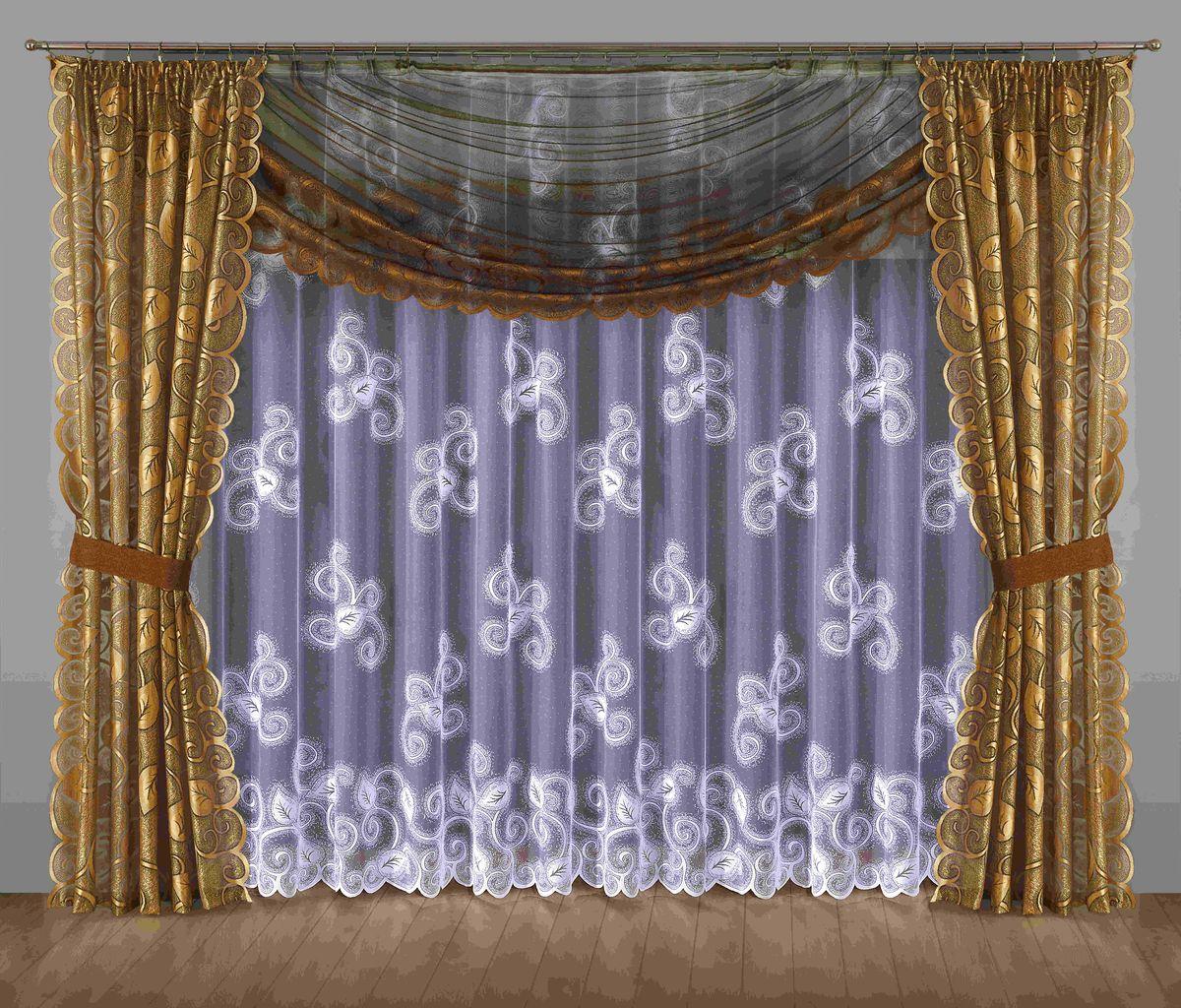Комплект штор Wisan Ulryka, на ленте, цвет: коричневый, золотой, высота 250 см201WКомплект штор Wisan Ulryka выполненный из полиэстера, великолепно украсит любое окно. В комплект входят 2 шторы, тюль, ламбрекен и 2 подхвата. Интересный крой, и цветочный узор придают комплекту особый стиль и шарм. Тонкое плетение, нежная цветовая гамма и роскошное исполнение - все это делает шторы Wisan Ulryka замечательным дополнением интерьера помещения. Комплект оснащен шторной лентой для красивой сборки. В комплект входит: Штора - 2 шт. Размер (ШхВ): 145 см х 250 см. Тюль - 1 шт. Размер (ШхВ): 400 см х 250 см. Ламбрекен - 1 шт. Размер (ШхВ): 350 см х 145 см. Подхват - 2 шт. Фирма Wisan на польском рынке существует уже более пятидесяти лет и является одной из лучших польских фабрик по производству штор и тканей. Ассортимент фирмы представлен готовыми комплектами штор для гостиной, детской, кухни, а также текстилем для кухни (скатерти, салфетки, дорожки, кухонные занавески). Модельный ряд отличает оригинальный...