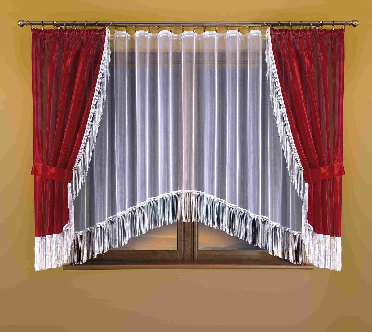 Комплект штор для кухни Wisan Hana, на ленте, цвет: белый, бордо, высота 170 см264WКомплект штор для кухни Wisan Hana, выполненный из полиэстера, великолепно украсит окно. В комплект входят 2 шторы, тюль и 2 подхвата. Бахрома придает комплекту особый стиль и шарм. Тонкое плетение, нежная цветовая гамма и роскошное исполнение - все это делает шторы Wisan Hana замечательным дополнением интерьера кухни. Шторы оснащены шторной лентой для красивой сборки, а также двумя подхватами. В комплект входит: Штора - 2 шт. Размер (ШхВ): 150 см х 170 см. Тюль - 1 шт. Размер (ШхВ): 300 см х 170 см. Подхват - 2 шт.