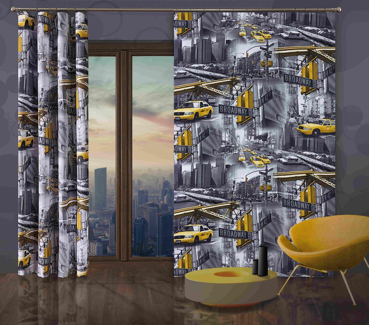 Комплект гардин-панно Wisan Taxi, на ленте, цвет: серый, желтый, высота 250 см269WКомплект гардин-панно Wisan Taxi, изготовленный из полиэстера, станет великолепным украшением любого окна. В комплект входят 2 плотные гардины с изображением мегаполиса. Качественный материал, оригинальный дизайн и приятная цветовая гамма привлекут к себе внимание и органично впишутся в интерьер. Комплект оснащен шторной лентой для красивой сборки. Размер гардин-панно: 150 см х 250 см. Фирма Wisan на польском рынке существует уже более пятидесяти лет и является одной из лучших польских фабрик по производству штор и тканей. Ассортимент фирмы представлен готовыми комплектами штор для гостиной, детской, кухни, а также текстилем для кухни (скатерти, салфетки, дорожки, кухонные занавески). Модельный ряд отличает оригинальный дизайн, высокое качество. Ассортимент продукции постоянно пополняется.