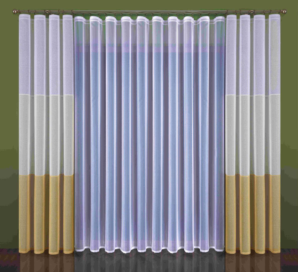 Комплект штор Wisan Kleonia, на ленте, цвет: белый, бежевый, высота 250 смS03301004Комплект штор Wisan Kleonia выполненный из полиэстера, великолепно украсит любое окно. В комплект входят 2 шторы и плотный тюль.Оригинальный дизайн придает комплекту особый стиль и шарм. Качественный материал и тонкое плетение, нежная цветовая гамма и роскошное исполнение - все это делает шторы Wisan Kleonia замечательным дополнением интерьера помещения.Комплект оснащен шторной лентой для красивой сборки. В комплект входит: Тюль - 1 шт. Размер (ШхВ): 500 см х 250 см.Штора - 2 шт. Размер (ШхВ): 140 см х 250 см. Фирма Wisan на польском рынке существует уже более пятидесяти лет и является одной из лучших польских фабрик по производству штор и тканей. Ассортимент фирмы представлен готовыми комплектами штор для гостиной, детской, кухни, а также текстилем для кухни (скатерти, салфетки, дорожки, кухонные занавески). Модельный ряд отличает оригинальный дизайн, высокое качество. Ассортимент продукции постоянно пополняется.