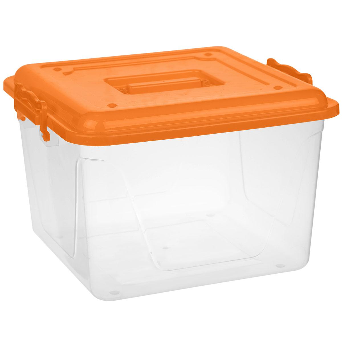 Контейнер Альтернатива, цвет: оранжевый, прозрачный, 15 лМ1023Контейнер Альтернатива выполнен из прочного цветного пластика и предназначен для хранения различных бытовых вещей и продуктов. Контейнер оснащен по бокам ручками, которые плотно закрывают крышку контейнера. Также на крышке имеется ручка для удобной переноски. Контейнер поможет хранить все в одном месте и защитить вещи от пыли, грязи и влаги.