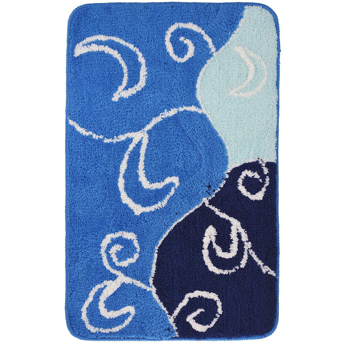 Коврик для ванной комнаты Fresh Code, цвет: синий, 80 х 50 см54930Коврик для ванной Fresh Code изготовлен из 100% акрила с латексной основой. Коврик, украшенный ярким цветным рисунком, создаст уют и комфорт в ванной комнате. Длинный ворс мягко соприкасается с кожей стоп, вызывая только приятные ощущения. Рекомендации по уходу: - стирать в ручном режиме, - не использовать отбеливатели, - не гладить, - не подходит для сухой чистки (химчистки).