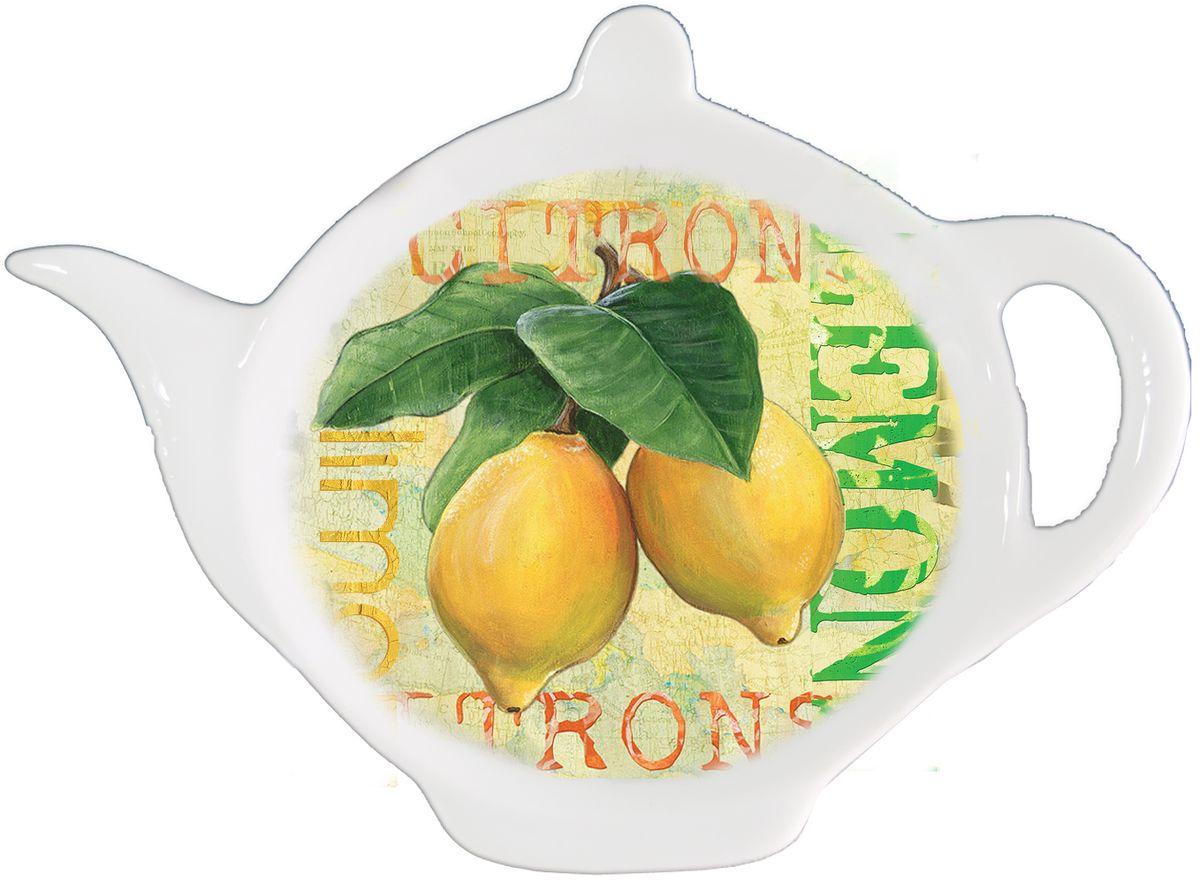 Подставка для чайных пакетиков GiftnHome ЛимонTB-LemonПодставка для чайных пакетиков GiftnHome Лимон, изготовленная из фарфора, порадует вас оригинальностью и дизайном. Подставка выполнена в форме чайничка и декорирована изображением лимонов. Подставка, несомненно, понравится любой хозяйке, а кухонный стол всегда будет чистым, без нежелательных разводов от чайных пакетиков. Размер подставки: 11,5 см х 8,5 см х 2 см.