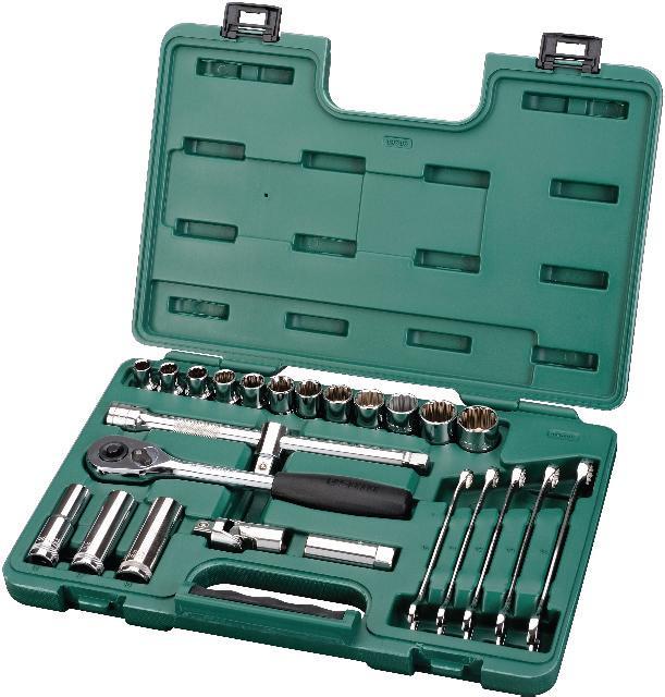 Набор инструментов SATA 25пр. 0950609506Набор инструментов Sata - это необходимый предмет в каждом доме. Он включает в себя 25 предметов, которые умещаются в пластиковом кейсе. Такой набор будет идеальным подарком мужчине. Состав набора: Ключи комбинированные: 10 мм,11 мм,12 мм,13 мм,14 мм. Привод 1/2. Рукоятка реверсивная 1/2. Удлинитель 1/2: 250 мм. Шарнир карданный 1/2. Адаптер 3/8-1/2. Головки торцевые удлиненные шестигранные 1/2: 13 мм, 17 мм,19 мм. Головки торцевые 1/2 (12 граней): 10 мм, 11 мм, 12 мм, 13 мм,14 мм, 15 мм, 16 мм, 17 мм, 18 мм, 19 мм, 22 мм, 24 мм. Ключ свечной 1/2: 16 мм.
