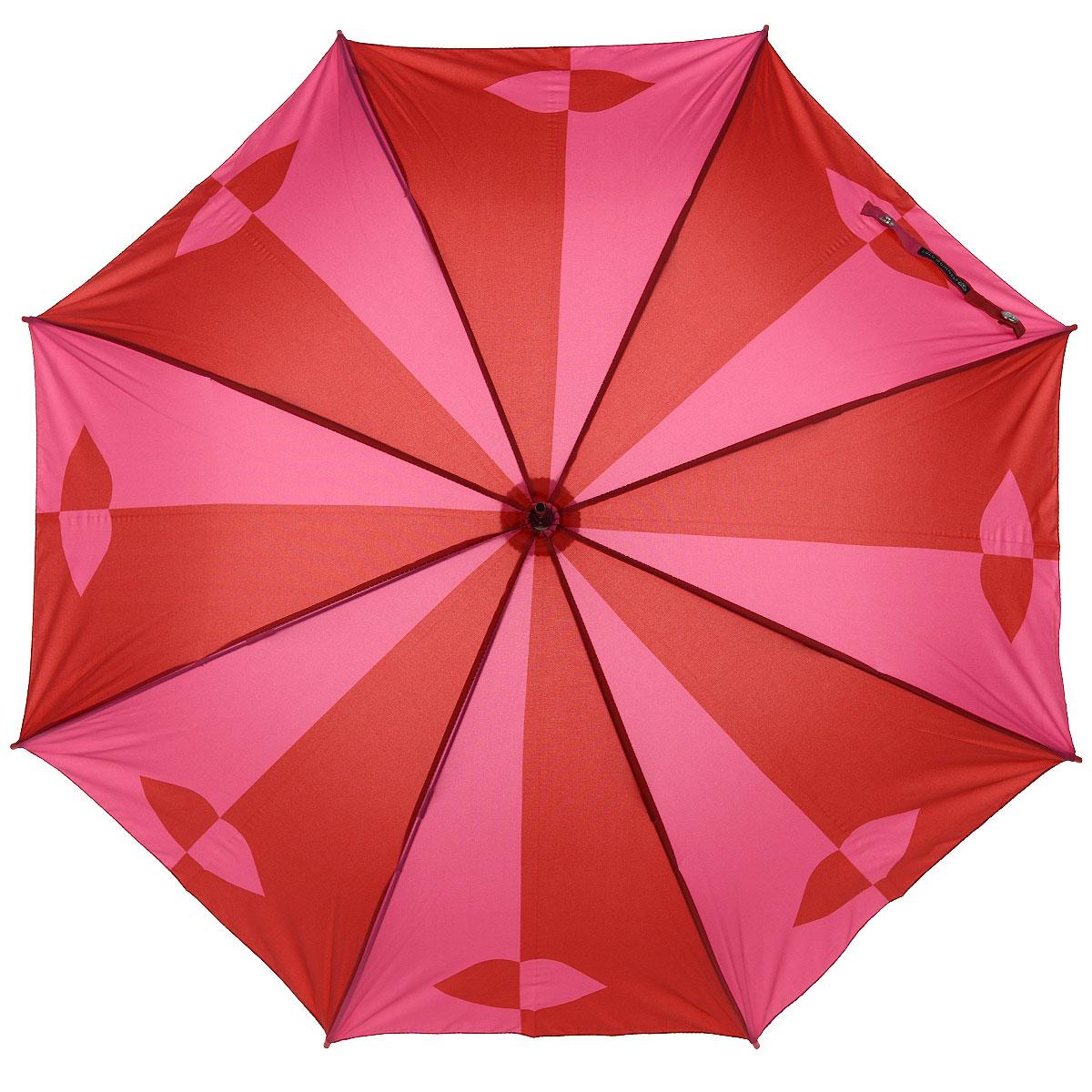 Зонт-трость женский Red Pink Lips, механический, цвет: красный, розовыйL 720 3F2678Стильный механический зонт-трость Red Pink Lips даже в ненастную погоду позволит вам оставаться элегантной. Каркас зонта выполнен из 8 спиц, стержень изготовлен из стали. Купол зонта выполнен из прочного полиэстера красно-розового цвета и оформлен принтом в виде губ. Рукоятка закругленной формы разработана с учетом требований эргономики и выполнена из пластика. Зонт имеет механический тип сложения: купол открывается и закрывается вручную до характерного щелчка. Такой зонт не только надежно защитит вас от дождя, но и станет стильным аксессуаром. Характеристики: Материал: полиэстер, сталь, пластик. Цвет: красный, розовый. Длина стержня зонта: 77 см. Артикул: L 720 3F2678.