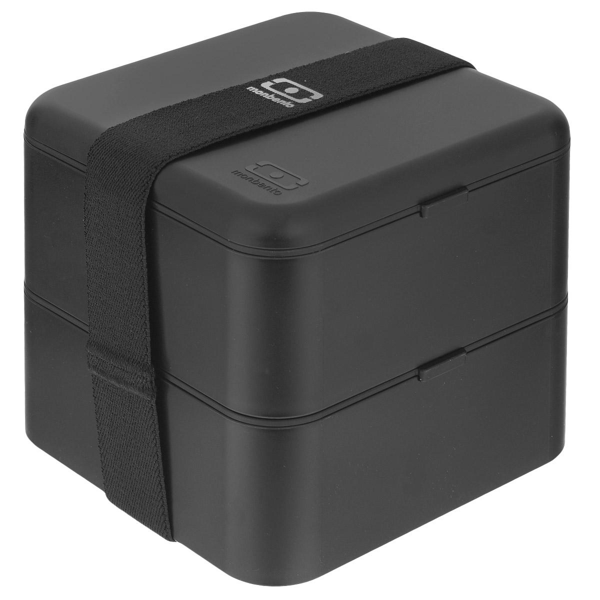 Ланчбокс Monbento Square, цвет: черный, 1,7 лVT-1520(SR)Ланчбокс Monbento Square изготовлен из высококачественного пищевого пластика. Предназначен для хранения и переноски пищевых продуктов в больших порциях: подходит для салатов, бутербродов и других блюд. Ланчбокс представляет собой два квадратных контейнера, в которых удобно хранить сразу несколько видов блюд. Контейнеры вакуумные, что позволяет продуктам дольше оставаться свежими и вкусными. Контейнеры скрепляются эластичной резинкой. Компактные размеры позволят уместить ланчбокс в любой сумке. Его удобно взять с собой на работу, отдых, в поездку. Теперь любимая домашняя еда всегда будет под рукой, а яркий дизайн поднимет настроение и подарит заряд позитива. Можно использовать в микроволновой печи и для хранения пищи в холодильнике, можно мыть в посудомоечной машине. Объем: 1,7 л. Общий размер ланчбокса: 14 см х 14 см х 14 см. Размер контейнера: 14 см х 14 см х 8 см.