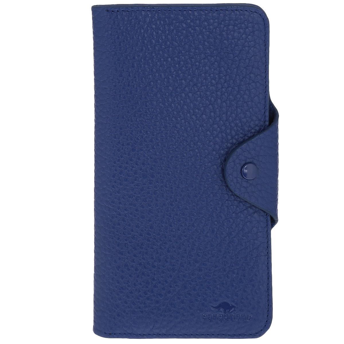 Портмоне Cangurione, цвет: синий. 2103-015 F/BlueINT-06501Мягкое портмоне Cangurione выполнено из натуральной высококачественной кожи с естественной лицевой и внутренней поверхностью. Портмоне имеет 6 отделений для купюр. Также внутри расположены 16 горизонтальных открытых карманов для банковских карт и визиток и 2 горизонтальных открытых кармана с полупрозрачным окошком-сеточкой. Портмоне оснащено клапаном для фиксации бумаг и документов и дополнено внутренним карманом для мелочи на застежке-молнии, которое также можно использовать для хранения купюр. Портмоне надежно закрывается на узкий клапан с кнопкой.Портмоне - это удобный и стильный аксессуар, необходимый каждому активному человеку для хранения денежных купюр, монет, визитных и пластиковых карт, а также небольших документов. Надежное портмоне Cangurione сочетает в себе классический дизайн и функциональность, и не только практично в использовании, но и станет отличным дополнением к любому стилю, и позволит вам подчеркнуть свою индивидуальность.Портмоне упаковано в подарочную коробку с логотипом производителя.