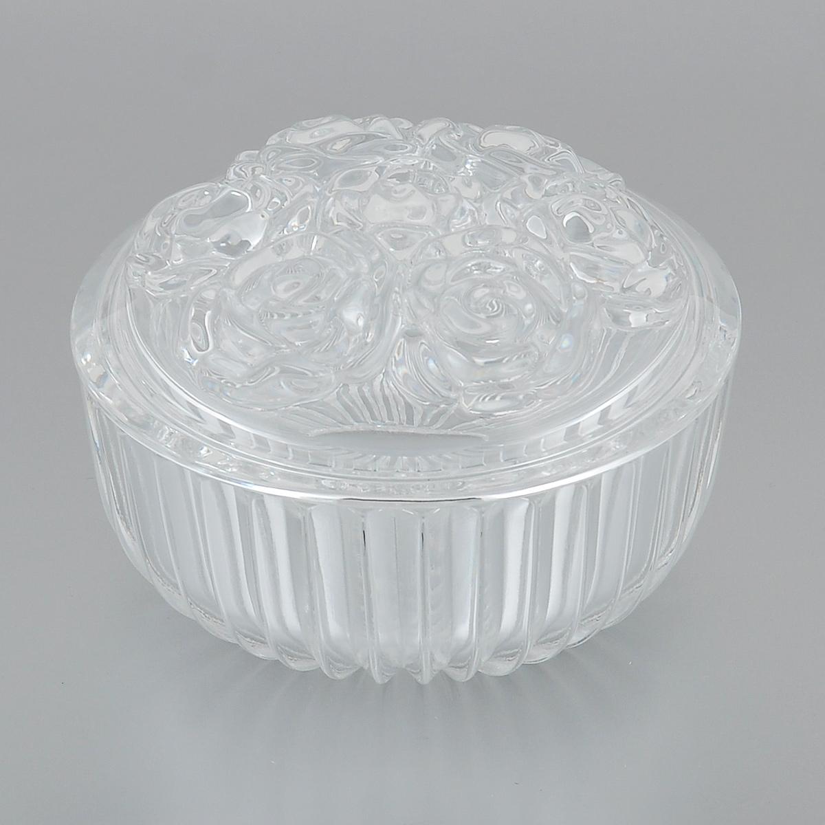 Доза-шкатулка Crystal Bohemia Розы, диаметр 11,5 см990/58100/1/45600/080-109Доза-шкатулка Crystal Bohemia Розы выполнена из граненого высококачественного хрусталя. Крышка шкатулки декорирована рельефом в виде роз. Она излучает приятный блеск и издает мелодичный звон. Шкатулка сочетает в себе изысканный дизайн с максимальной функциональностью. Она не только украсит дом и подчеркнет ваш прекрасный вкус, но и станет отличным подарком. Диаметр по верхнему краю: 11,5 см. Высота (без учета крышки): 5 см.