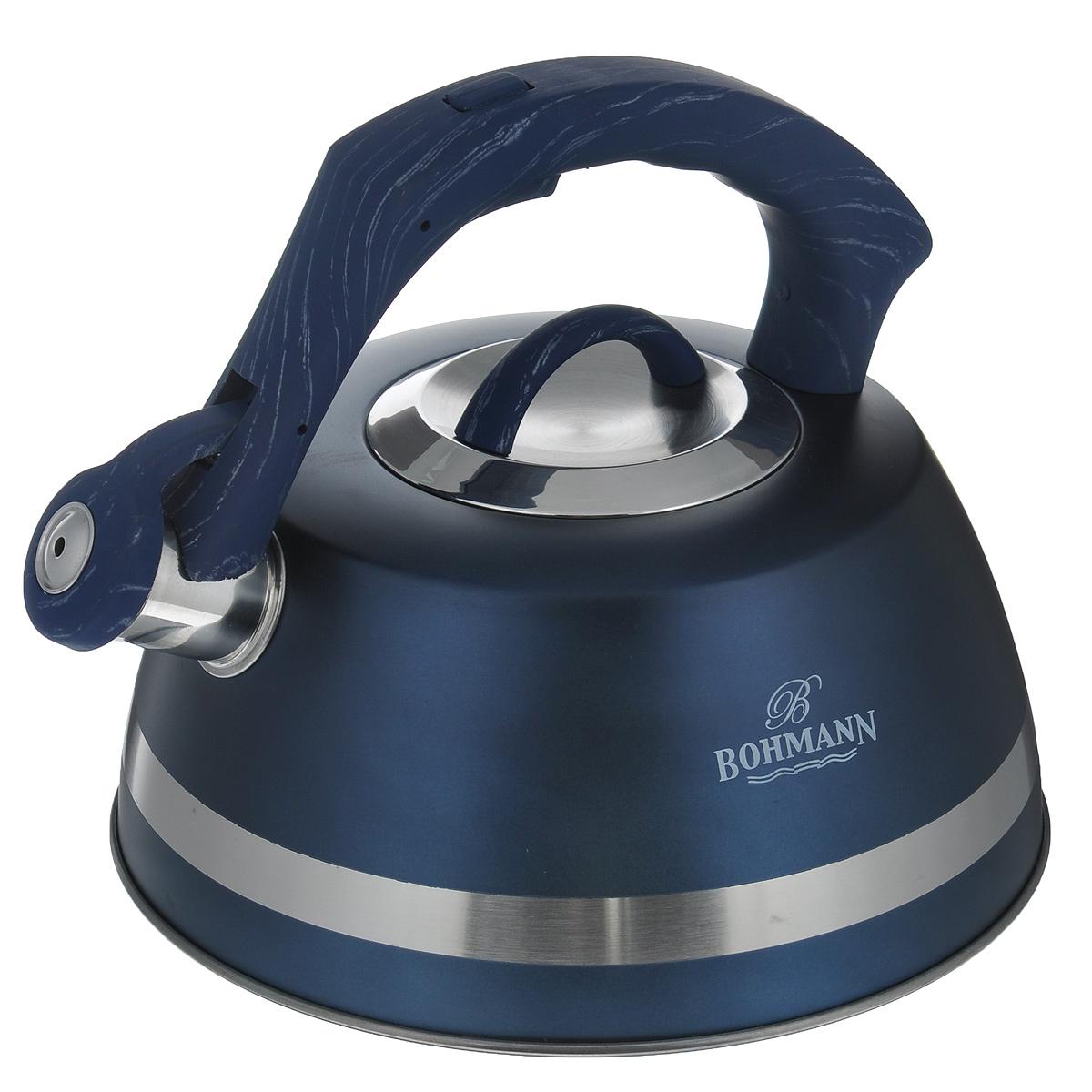 Чайник Bohmann со свистком, цвет: синий, 3,5 л. BH - 9967VT-1520(SR)Чайник Bohmann изготовлен из высококачественной нержавеющей стали с матовым цветным покрытием. Фиксированная ручка изготовлена из бакелита с прорезиненным покрытием. Носик чайника оснащен откидным свистком, звуковой сигнал которого подскажет, когда закипит вода. Свисток открывается нажатием кнопки на ручке.Чайник Bohmann - качественное исполнение и стильное решение для вашей кухни. Подходит для использования на газовых, стеклокерамических, электрических, галогеновых и индукционных плитах. Также изделие можно мыть в посудомоечной машине. Высота чайника (без учета ручки и крышки): 10,5 см. Высота чайника (с учетом ручки): 19 см. Диаметр основания чайника: 22,5 см. Диаметр чайника (по верхнему краю): 10 см.
