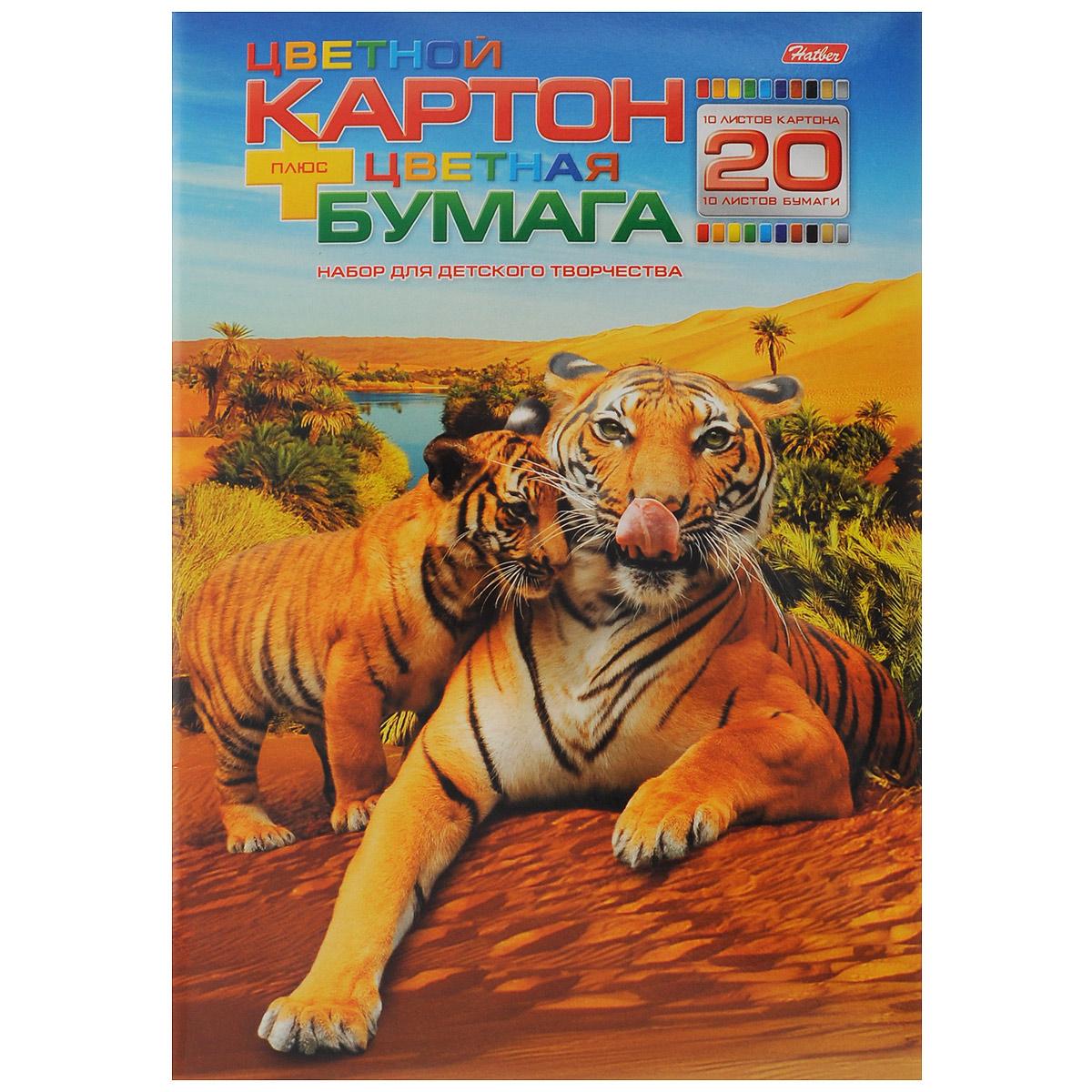 """Набор бумаги и цветного картона Hatber """"Тигры"""", 20 листов 20НКБ4_09804"""