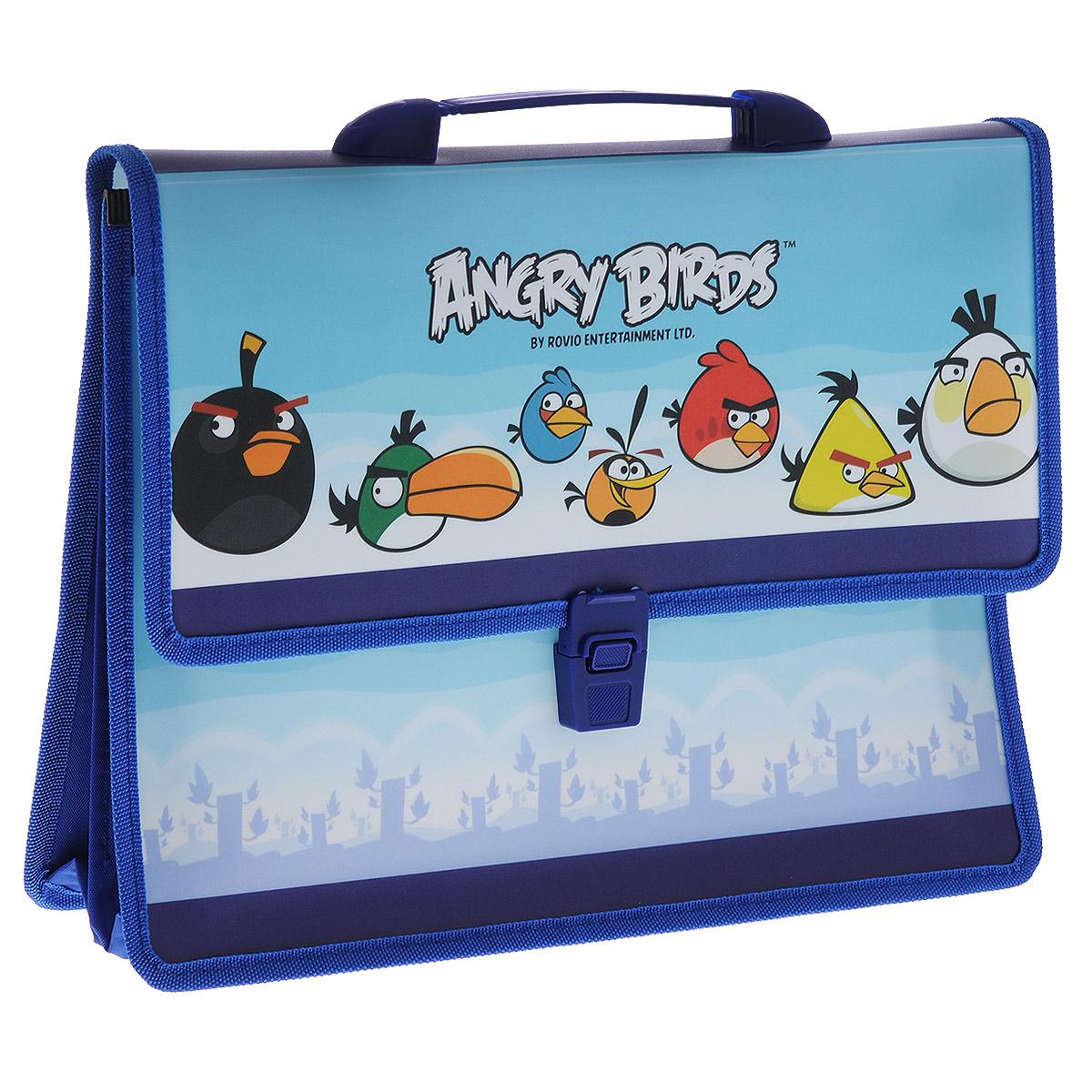 """Angry Birds Папка-портфель Centrum """"Аngry Birds"""", 2 отделения, с ручкой, цвет: синий. Формат А4 84407"""