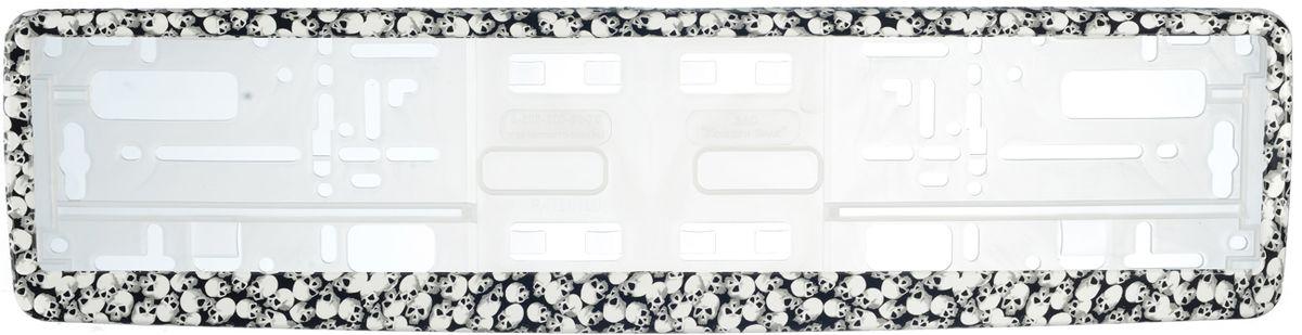 Рамка под номер Черепа. З0000014099З0000014099Рамка Черепа не только закрепит регистрационный знак на вашем автомобиле, но и красиво его оформит. Основание рамки выполнено из полипропилена, материал лицевой панели - пластик. Она предназначена для крепления регистрационного знака российского и европейского образца, декорирована изображением черепов. Устанавливается на все типы автомобилей. Крепления в комплект не входят. Стильный дизайн идеально впишется в экстерьер вашего автомобиля. Размер рамки: 53,5 см х 13,5 см. Размер регистрационного знака: 52,5 см х 11,5 см.