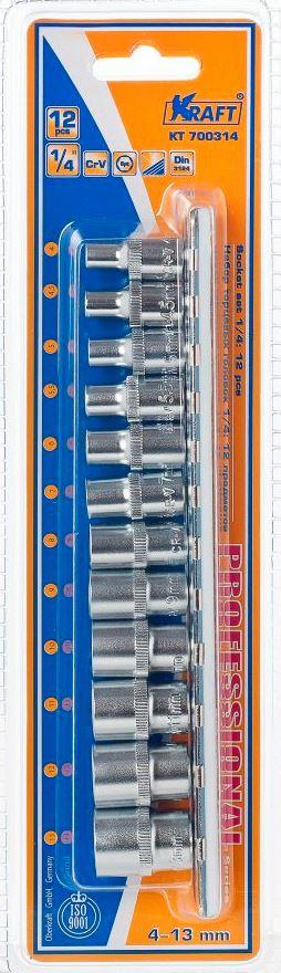 Набор торцевых головок Kraft Professional, 1/4, 4 мм - 13 мм, 12 штКТ700314В набор Kraft Professional входят шестигранные торцевые головки на планке под квадрат 1/4 следующих размеров: 4 мм, 4,5 мм, 5 мм, 5,5 мм, 6 мм, 7 мм, 8 мм, 9 мм, 10 мм, 11 мм, 12 мм, 13 мм. Головки выполнены из хромованадиевой стали со специальным трехслойным покрытием. Торцевые головки Kraft Professional изготовлены из хромованадиевой стали марки 50BV30 со специальным трехслойным покрытием, обеспечивающим долговременную защиту от механических повреждений.