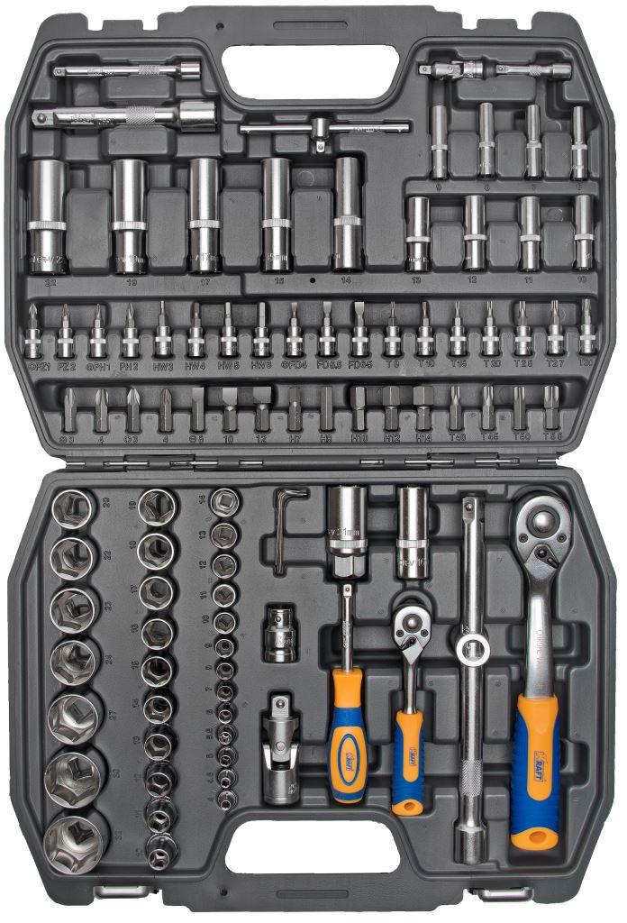 Набор инструментов Kraft Professional, 1/2, 1/4, 94 предметаКТ 700306Набор инструментов Kraft Professional базовой комплектации, позволяет производить обслуживание резьбовых соединений в широком диапазоне размеров. Полнофункциональный набор принадлежностей для работы с приводом 1/2 и 1/4. Состав набора: головки торцевые шестигранные 1/2: 10 мм, 11 мм, 12 мм, 13 мм, 14 мм, 15 мм, 16 мм, 17 мм, 18 мм, 19 мм, 20 мм, 22 мм, 23 мм, 24 мм, 27 мм, 30 мм, 32 мм; головки торцевые шестигранные высокие 1/2: 14 мм, 15 мм, 17 мм, 19 мм, 22 мм; кардан шарнирный 1/2; головки торцевые свечные: 16 мм, 21 мм; удлинитель 1/2: 125 мм, 250 мм; рукоятка трещоточная с быстрым сбросом 1/2: 250 мм, 72 зубца; держатель бит-вставок 1/2; переходник 3/8 (F) х 1/2 (М); биты-вставки 1/2 30 мм: - Нех: 7 мм, 8 мм, 10 мм, 12 мм, 14 мм; - Torx: Т40, Т45, Т50, Т55; - Шлицевые: 8 мм, 10 мм, 12 мм; - Phillips: РН3, РН4; - Pozi: Pz3, Pz4; головки торцевые...