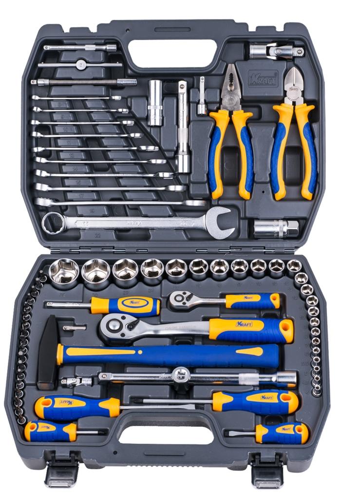 """Набор инструментов Kraft """"Professional"""", универсальный, 1/2'', 1/4'', 73 предмета КТ 700677"""