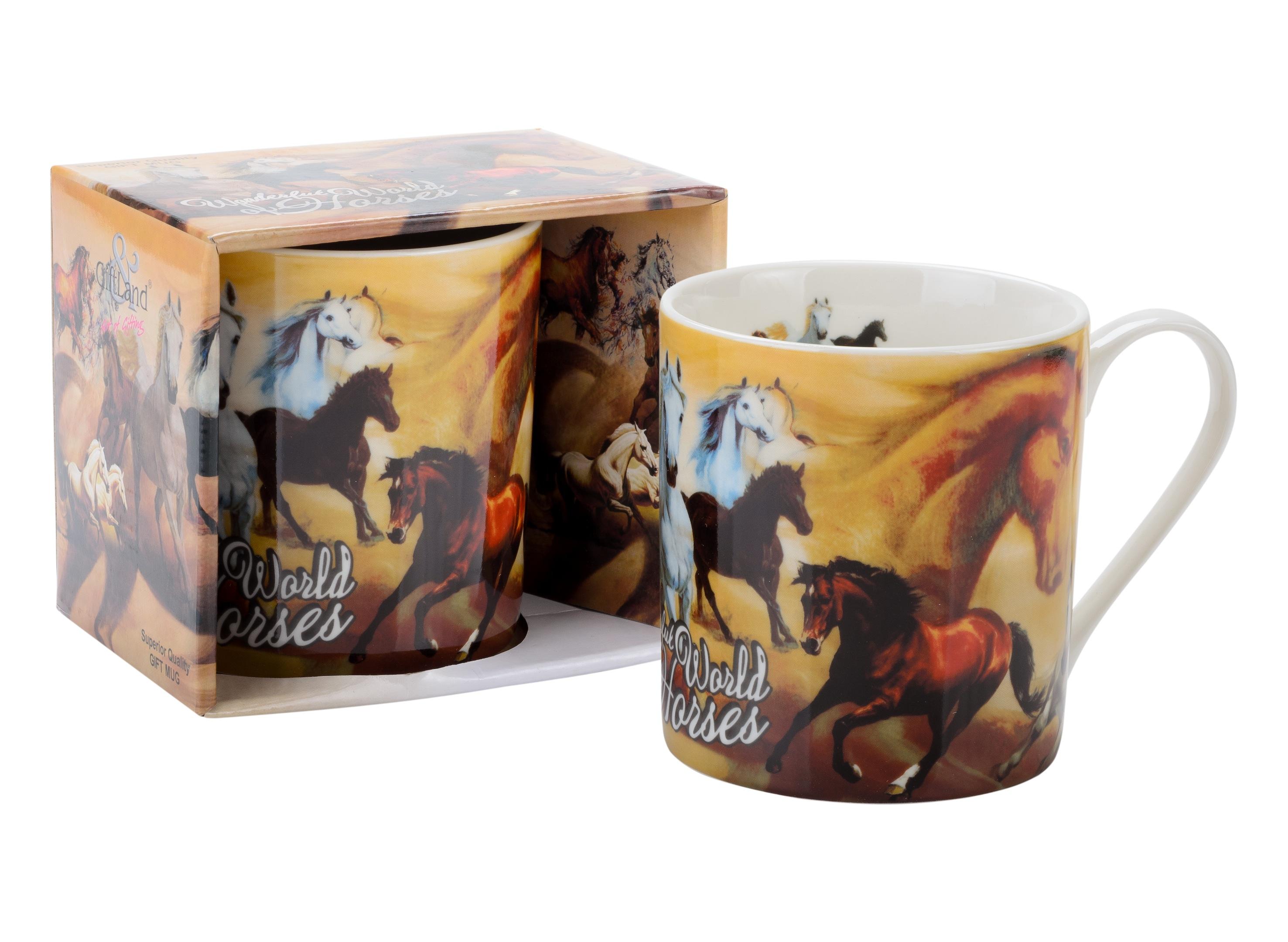 Кружка GiftLand Удивительный мир лошадей, 400 млM013-HorseКружка GiftLand Удивительный мир лошадей изготовлена из костяного фарфора и оформлена красочным изображением лошадей. Кружка упакована в красивую подарочную коробку. Оригинальная кружка порадует вас ярким дизайном и станет неизменным атрибутом чаепития. Прекрасно подойдет в качестве сувенира. Диаметр кружки: 8,5 см. Высота: 9,5 см. Объем: 400 мл.