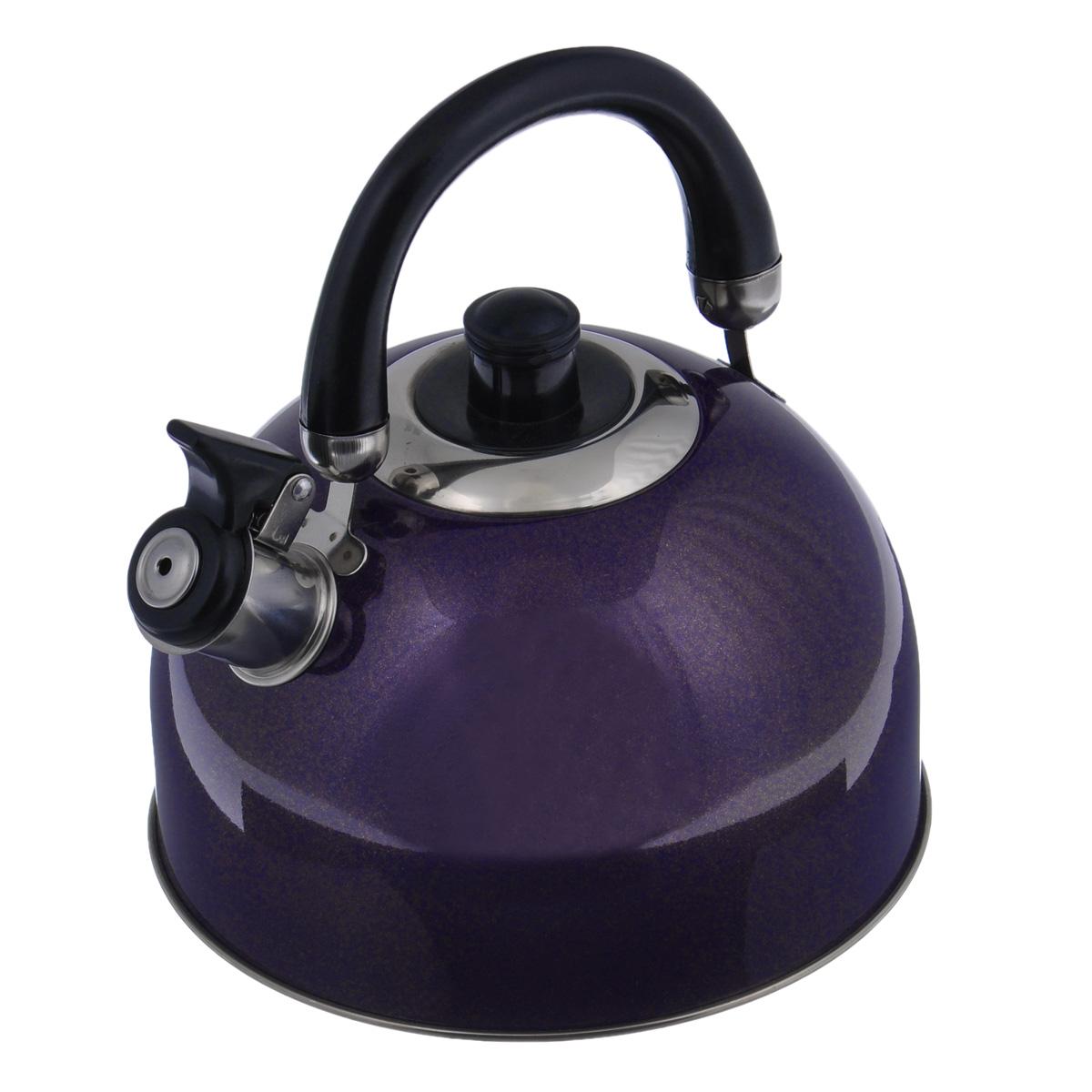 Чайник Mayer & Boch Modern со свистком, цвет: фиолетовый, 2,7 л. 23595-2CM000001328Чайник Mayer & Boch Modern выполнен из высококачественной нержавеющей стали, что обеспечивает долговечность использования. Внешнее цветное эмалевоепокрытие придает приятный внешний вид. Подвижная ручка из бакелита делает использование чайника очень удобным и безопасным. Чайник снабжен свистком и устройством для открывания носика.Можно мыть в посудомоечной машине. Пригоден для всех видов плит, включая индукционные.Высота чайника (без учета крышки и ручки): 11,5 см.Диаметр основания: 20 см.
