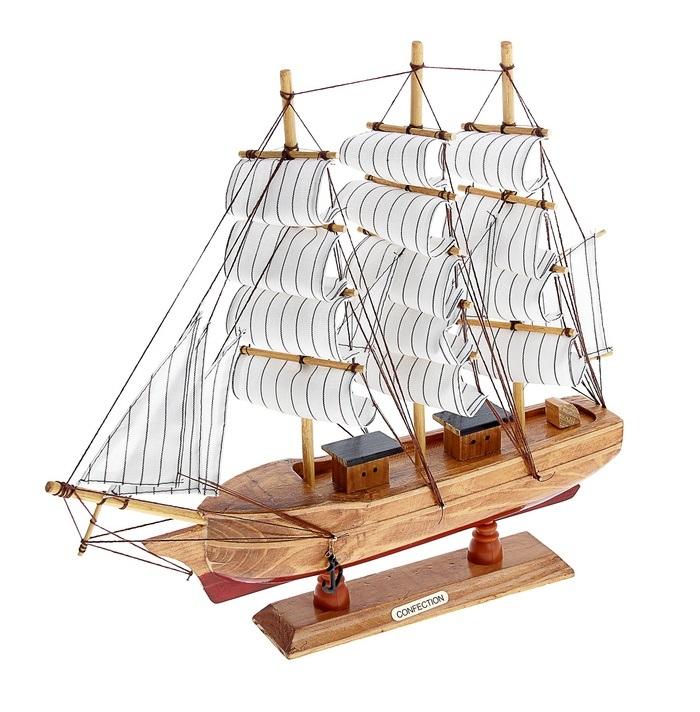 Корабль сувенирный Confection, длина 40 см. 452037452037Сувенирный корабль Confection, изготовленный из дерева и текстиля, это великолепный элемент декора рабочей зоны в офисе или кабинете. Корабль с парусами и якорями помещен на деревянную подставку. Время идет, и мы становимся свидетелями развития технического прогресса, новых учений и практик. Но одно не подвластно времени - это любовь человека к морю и кораблям. Сувенирный корабль наполнен историей и силой океанских вод. Данная модель кораблика станет отличным подарком для всех любителей морей, поклонников историй о покорении океанов и неизведанных земель. Модель корабля - подарок со смыслом. Издавна на Руси считалось, что корабли приносят удачу и везение. Поэтому их изображения, фигурки и точные копии всегда присутствовали в помещениях. Удивите себя и своих близких необычным презентом.
