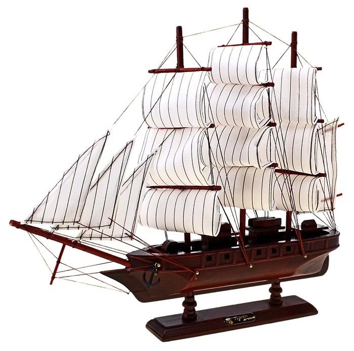 Корабль сувенирный Корабль мечты, длина 40 см. 564195564195Сувенирный корабль Корабль мечты, изготовленный из дерева и текстиля, это великолепный элемент декора рабочей зоны в офисе или кабинете. Корабль с парусами и якорями помещен на деревянную подставку. Время идет, и мы становимся свидетелями развития технического прогресса, новых учений и практик. Но одно не подвластно времени - это любовь человека к морю и кораблям. Сувенирный корабль наполнен историей и силой океанских вод. Данная модель кораблика станет отличным подарком для всех любителей морей, поклонников историй о покорении океанов и неизведанных земель. Модель корабля - подарок со смыслом. Издавна на Руси считалось, что корабли приносят удачу и везение. Поэтому их изображения, фигурки и точные копии всегда присутствовали в помещениях. Удивите себя и своих близких необычным презентом.