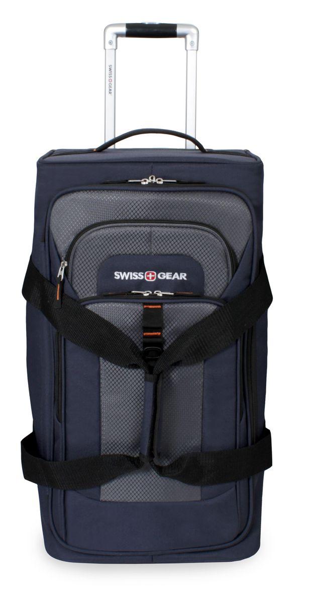 Сумка на колесах SwissGear, цвет: синий, серый, 55 л6166344267Стильная сумка на колесах Swissgear подойдет для современных и мобильных людей. Она выполнена из полиэстера и имеет одно вместительное основное отделение на застежке-молнии, внутри фиксирующие ремни, а также сетчатый карман. На лицевой стороне расположено 2 кармана на застежке-молнии. Особенности: Алюминиевая ручка с фиксатором позволяет легко и удобно перемещать багаж. Прочные ручки, расположенные на боковой и верхних частях изделия, позволяют без усилий поднимать и перевозить чемодан. Встроенные легко вращающиеся колеса обеспечивают максимальную стабильность и маневренность багажа. По всем вопросам гарантийного и постгарантийного обслуживания рюкзаков, чемоданов, спортивных и кожаных сумок, а также портмоне марок Wenger и SwissGear вы можете обратиться в сервис-центр, расположенный по адресу: г. Москва, Саввинская набережная, д.3. Тел: (495) 788-39-96, (499) 248-56-56, ежедневно с 9:00 до 21:00. Подробные условия гарантийного...
