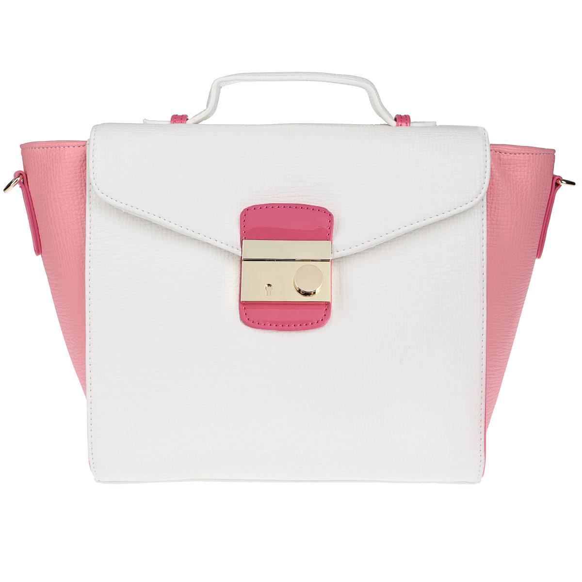Сумка женская Vitacci, цвет: розовый, белый. V0779V0779Изысканная женская сумка Vitacci изготовлена из эко кожи. Изделие закрывается на удобную застежку-молнию и дополнительно клапаном на застежку. Внутри - одно вместительное отделение, несколько накладных карманчиков для мелочей, телефона, накладной карманчик на застежке-молнии и врезной карманчик на застежке-молнии. Задняя сторона сумки дополнена плоским карманом, закрывающимся сверху небольшим хлястиком на магнитную кнопку. Дно дополнено металлическими ножками, защищающими изделие от повреждений. На клапане - небольшая ручка для удобного ношения сумки в руках. Также модель дополнена съемным плечевым ремнем, регулирующимся по длине. Изделие упаковано в фирменный чехол. Роскошная сумка внесет элегантные нотки в ваш образ и подчеркнет ваше отменное чувство стиля.