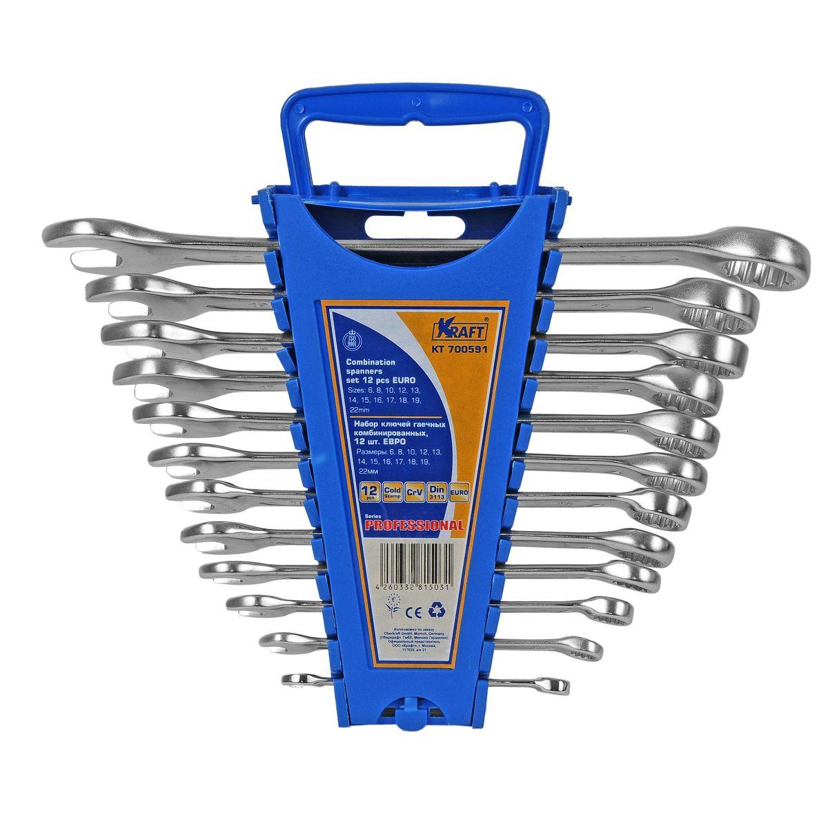 Набор комбинированных гаечных ключей Kraft Professional Euro, 6 мм - 22 мм, 12 штКТ700591Набор комбинированных гаечных ключей Kraft Professional Euro предназначен для профессионального применения в решении сантехнических, строительных и авторемонтных задач, а также для бытового использования. Ключи изготовлены из хромованадиевой стали. Размеры ключей входящих в набор: 6 мм, 8 мм, 10 мм, 12 мм, 13 мм, 14 мм, 15 мм, 16 мм, 17 мм, 18 мм, 19 мм, 22 мм. Комбинированный ключ представляет собой соединение рожкового и накидного гаечных ключей. Обе стороны комбинированного ключа имеют одинаковый размер. Комбинированный ключ - это необходимый предмет в каждом доме.