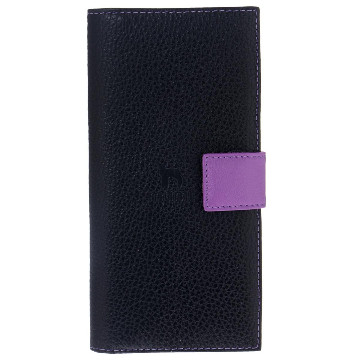 Портмоне Dimanche Mumi, цвет: черный, фиолетовый. 053053Модное портмоне Dimanche Mumi изготовлено из высококачественной натуральной кожи и декорировано фактурным тиснением. Изделие закрывается хлястиком на кнопку. Внутри - два отделения для купюр, отсек для мелочи на застежке-молнии, три горизонтальных кармана для бумаг и чеков, одиннадцать прорезей для визиток и кредитных карт и две прорези для SIM-карт. Портмоне упаковано в стильный пластиковый чехол. Изысканное портмоне займет достойное место среди вашей коллекции аксессуаров.