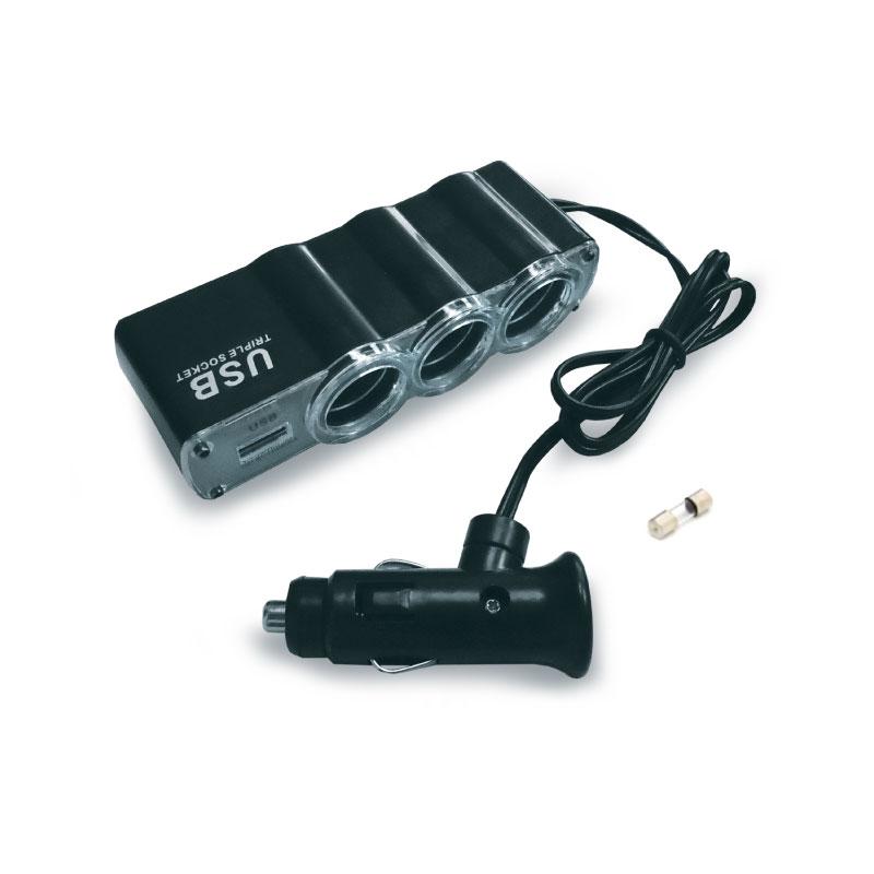 Разветвитель прикуривателя AVS CS314U, со светодиодной подсветкой, 3 выхода + USB, 12/24В43267Разветвитель прикуривателя AVS CS314U увеличивает количество гнезд прикуривателя и рассчитан на подключение нескольких различных электрических приборов, например, автомобильного чайника или термокружки. Выполнен из тугоплавкого пластика. Это устройство незаменимо при выездах на природу, да и просто в поездках по городу. Имеет 3 гнезда прикуривателя и 1 USB-порт. USB-порт: 1000 мА. Мощность: 60 Вт. Максимальный потребляемый ток подключаемых устройств: 5 А.