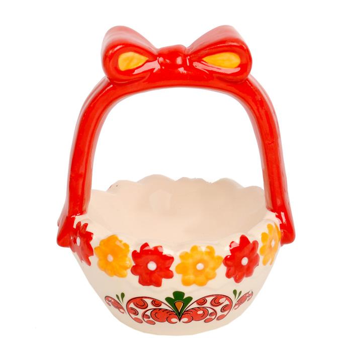 Ваза Home Queen Народные промыслы, высота 11,5 см66674Ваза Home Queen Народные промыслы станет оригинальным украшением праздничного стола на Пасху. Изделие изготовлено из высококачественной керамики. Ваза выполнена в виде корзинки с бантом и украшена цветами. Ее можно использовать для подачи пасхальных яиц или небольших сладостей. Такая подставка станет красивым пасхальным подарком для друзей или близких.