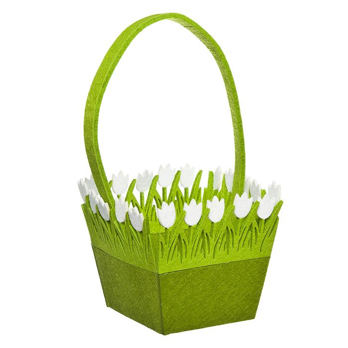 Корзинка Home Queen Цветочная поляна, цвет: зеленый, 16 х 16 х 14 см66834Корзинка Home Queen Цветочная поляна предназначена для украшения интерьера и сервировки стола. Изделие выполнено из фетра, по краю оформлено красивой аппликацией в виде белых цветочков. Корзинка оснащена ручкой. Такая оригинальная корзинка станет ярким украшением стола. Идеальный вариант для хранения пасхальных яиц или хлеба.