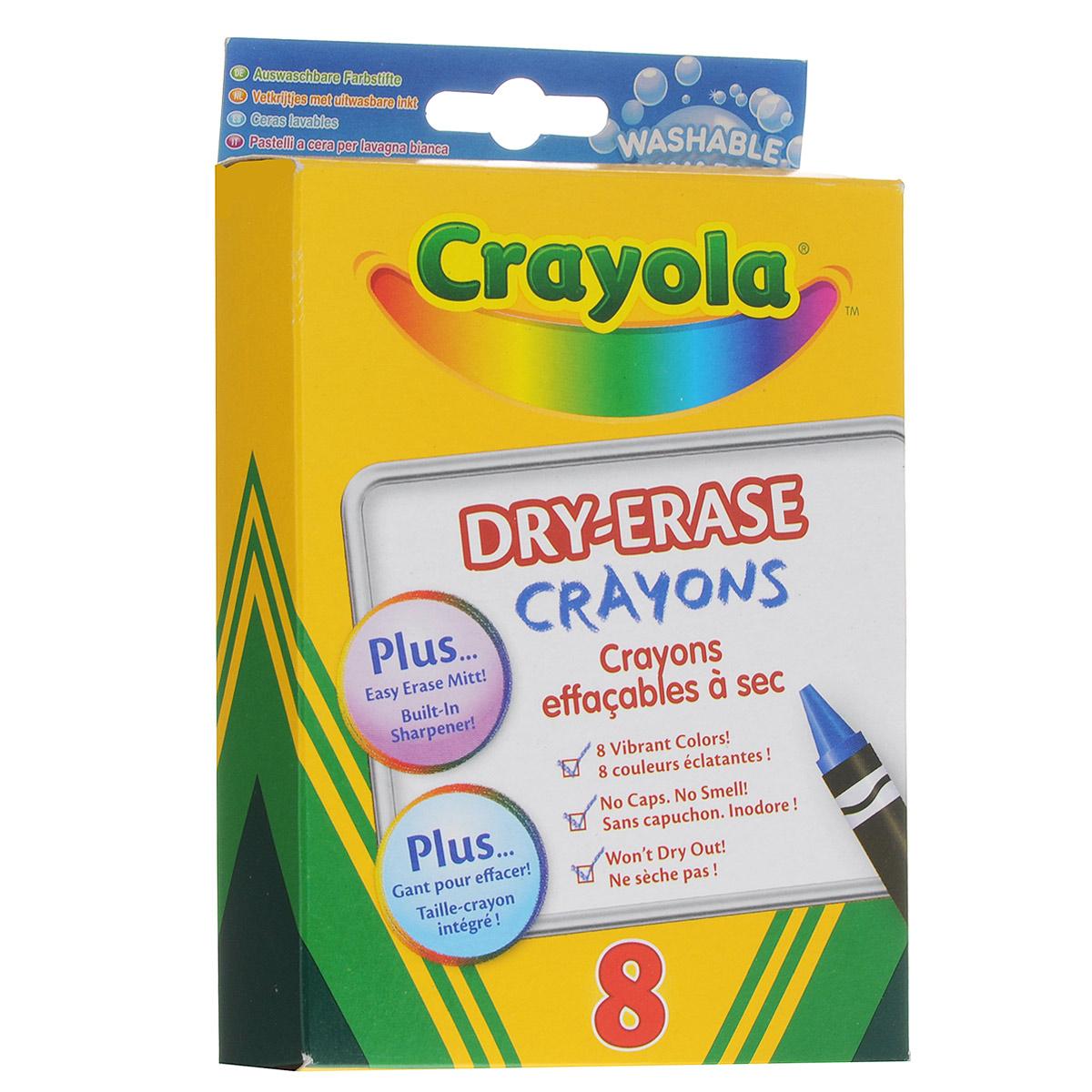 Восковые мелки Crayola Dry-Erase Crayons, 8 цветов98-5200Восковые мелки Crayola Dry-Erase Crayons созданы специально для самых маленьких художников. Мелки обеспечивают удивительно мягкое письмо, не ломаются, обладают отличными кроющими свойствами. В изготовлении мелков использовались абсолютно безопасные натуральные материалы. Мелки окрашены в яркие, насыщенные цвета, которые так нравятся малышам. Желтый, красный, оранжевый, зеленый, синий, черный, коричневый и фиолетовый - восковые мелки позволят создавать малышу на бумаге самые красочные рисунки. Кроме того, эти мелки с легкостью могут быть смыты с любых поверхностей. Поэтому родителям не придется беспокоиться в моменты, когда их ребенок захочет проявить во всю свою творческую натуру! В комплект также входит текстильный платочек черного цвета. Восковые мелки Crayola Dry-Erase Crayons помогают малышам развить мелкую моторику ручек, координацию движений, воображение и творческое мышления, стимулируют цветовое восприятие, а также способствуют самовыражению.