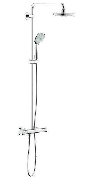 Душевая система с термостатом GROHE Euphoria System 180 (27296001)4005176896293Душевая система с термостатом для настенного монтажа Включает в себя: Настенный термостат с аквадиммером GROHE TurboStat встроенный термоэлемент Выбор между: Верхний душ Euphoria Cosmopolitan 180 (27 491 000) Горизонтальный поворотный душевой Кронштейн 450 мм С режимом Rain С шаровым шарниром Угол поворота ± 15° Регулируется по высоте с помощью Скользящего элемента Ручной душ Euphoria 110 Massage (27 221 000) Душевой шланг 1750 мм (28 388 000) Минимальный расход воды 7л/мин GROHE DreamSpray превосходный поток воды GROHE StarLight хромированная поверхность С системой SpeedClean против известковых отложений Внутренний охлаждающий канал для продолжительного срока службы Twistfree против перекручивания шланга Совместим с проточным водонагревателем От 18 kВ/ч Видео по установке является исключительно информационным. Установка должна проводиться профессионалами!