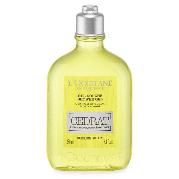 LOccitane Гель для душа Cedrat 250 мл329931Гель для мытья тела и волос с оттенком жёлтого цитрона хорошо очищает и заряжает энергией тело и волосы.