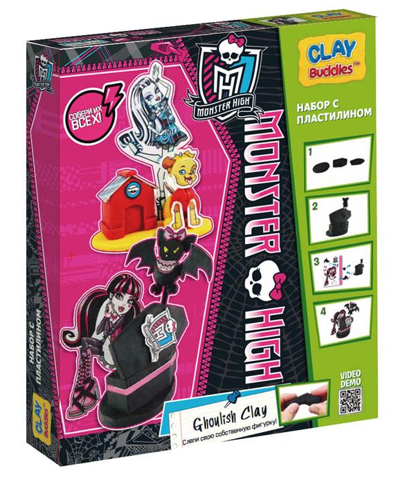 Giromax Набор для лепки Monster High. Ghoulish ClayG 307618Набор для лепки Giromax Monster High. Ghoulish Clay представляет собой сочетание моделирования и игры. Набор включает в себя: 6 плиток пластилина (черный, желтый, красный), игровая фоновая сцена, 2 карточки с картонными деталями, 2 листа липучек, иллюстрированная книжка с инструкциями и заданиями. Входящая в набор пластилиновая масса разработана специально для детей, очень мягкая, приятно пахнет, ее не надо разминать перед лепкой. Пластилин быстро высыхает, не имеет запаха, не липнет к рукам и одежде, легко смывается. Используя пластилин и картонные формочки, малыш сможет самостоятельно вылепить фигурки любимых героев - Фрэнки Штейн и Дракулауры, а с помощью игровой фоновой сцены созданные игрушки оживут. Работа с пластилином развивает мелкую моторику пальцев малыша, пространственное воображение, фантазию.