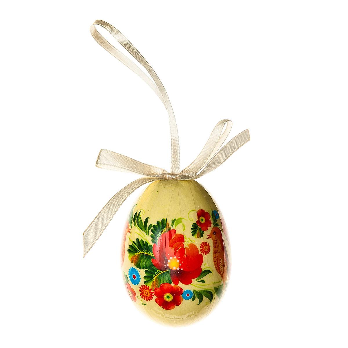 Декоративное подвесное украшение Home Queen Народная роспись, цвет: бежевый68283_3Подвесное украшение Home Queen Народная роспись, выполненное в форме яйца, изготовлено из пластика и декорировано изображением птицы и цветочным орнаментом. Изделие оснащено петелькой для подвешивания. Такое украшение прекрасно оформит интерьер дома или станет замечательным подарком для друзей и близких на Пасху. Размер яйца: 4 см х 4 см х 6 см.