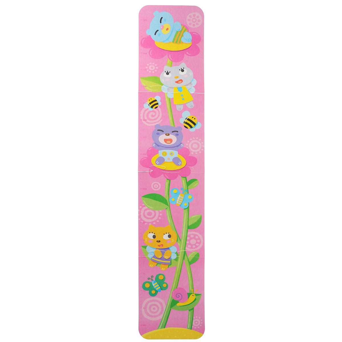 Ростомер-пазл Десятое королевство Цветочек, 99 см х 19 см01320Ростомер-пазл Десятое королевство Цветочек станет полезным и привлекательным украшением детской комнаты для маленькой принцессы. Нежный розовый цвет фона и узор из растущих, тянущихся к небу цветочков с расположившимися на них симпатичными зверьками и кружащими рядом бабочками и пчелками понравятся любой девочке. Ростомер можно использовать и как развивающую игрушку: малышка без труда сможет собрать его сама из четырех элементов. Прикрепите собранный ростомер на стену или дверь и отмечайте на нем динамику роста вашей дочки. С таким ростомером расти гораздо веселее!