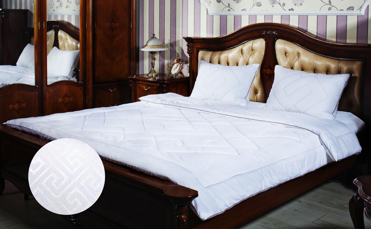 Одеяло Primavelle Afina, наполнитель: лебяжий пух, цвет: белый, 140 см х 205 см122918102-29Одеяло Primavelle Afina - стильная и комфортная постельная принадлежность, которая подарит уют и позволит окунуться в здоровый и спокойный сон. Чехол одеяла выполнен из однотонной ткани биософт с тисненым рисунком, украшен декоративной ниточной стежкой греческие узоры и атласным кантом шоколадного цвета. Чехол также имеет специальную обработку Peach-эффект, благодаря которой ткань становится нежной и приобретает бархатистую фактуру. Внутри - наполнитель из искусственного лебяжьего пуха, который является аналогом натурального пуха и представляет собой сверхтонкое волокно нового поколения. Благодаря этому одеяло очень мягкое и легкое, не накапливает пыль и запахи. Важным преимуществом является гипоаллергенность наполнителя, поэтому одеяло отлично подходит как взрослым, так и детям. Легкое и объемное, оно имеет среднюю степень теплоты и отличную терморегуляцию: под ним будет тепло зимой и не жарко летом. Одеяло просто в уходе, подходит для машинной...