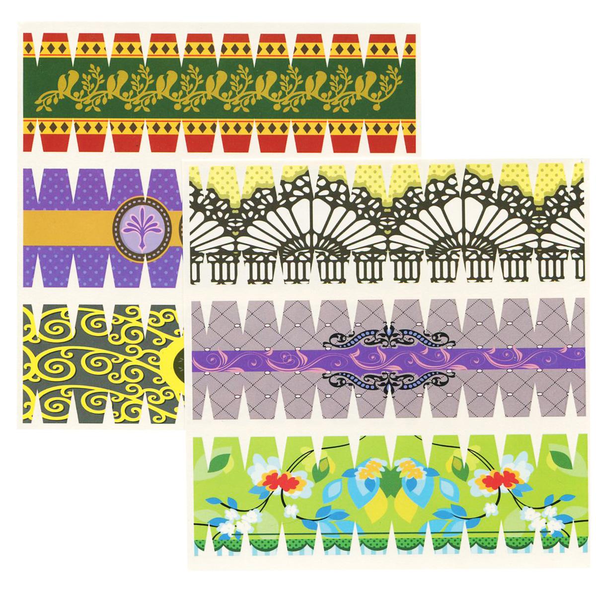 Набор переводных наклеек для яиц Home Queen Геометрия, 6 шт60883_4Набор Home Queen Геометрия состоит из 6 переводных наклеек, которые предназначены для декорирования пасхальных яиц. Наклейки выполнены из бумаги и украшены различными узорами. Такой набор украшений создаст атмосферу праздника в вашем доме. Размер наклейки: 4,4 см х 14,5 см.