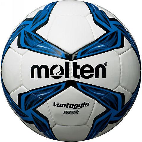 Мяч футбольный Molten, цвет: белый, черный, синий. Размер 5F5V1700Футбольный мяч Molten отлично подойдет для школьных тренировок или для отдыха. Он выполнен из прочной ПВХ синтетической кожи и сшит вручную. Долговечен, имеет яркий окрас.