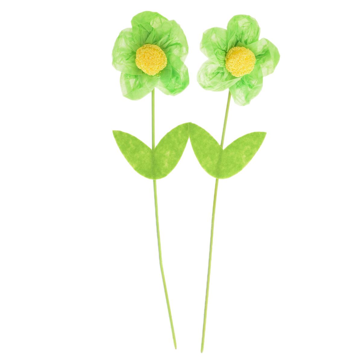 Набор декоративных украшений Home Queen Цветок, цвет: зеленый, 2 шт, высота 25 см60737_1Набор Home Queen Цветок состоит из двух декоративных украшений, изготовленных в виде цветов из бумаги, пластика и полиэстера. Украшения помогут вам украсить дом, а также оформить подарки для ваших близких. В стебли цветков вставлена металлическая проволока, благодаря чему они легко гнутся. С помощью таких украшений вы сможете оживить интерьер по своему вкусу. Высота цветка: 25 см. Диаметр цветка: 5,5 см.