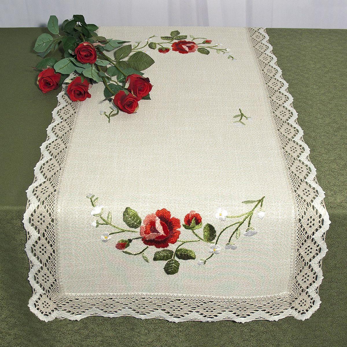 Дорожка для декорирования стола Schaefer, прямоугольная, цвет: бежевый, красный, 50 x 100 см 6400/3906400/390 -50*100Прямоугольная дорожка Schaefer изготовлена из высококачественного полиэстера и оформлена по краю отделочной тесьмой. Фактура ткани выполнена под натуральный лен, вышивка ручная. Вы можете использовать дорожку для декорирования стола, комода или журнального столика. Благодаря такой дорожке вы защитите поверхность мебели от воды, пятен и механических воздействий, а также создадите атмосферу уюта и домашнего тепла в интерьере вашей квартиры. Изделия из искусственных волокон легко стирать: они не мнутся, не садятся и быстро сохнут, они более долговечны, чем изделия из натуральных волокон. Изысканный текстиль от немецкой компании Schaefer - это красота, стиль и уют в вашем доме. Дорожка органично впишется в интерьер любого помещения, а оригинальный дизайн удовлетворит даже самый изысканный вкус. Дарите себе и близким красоту каждый день!